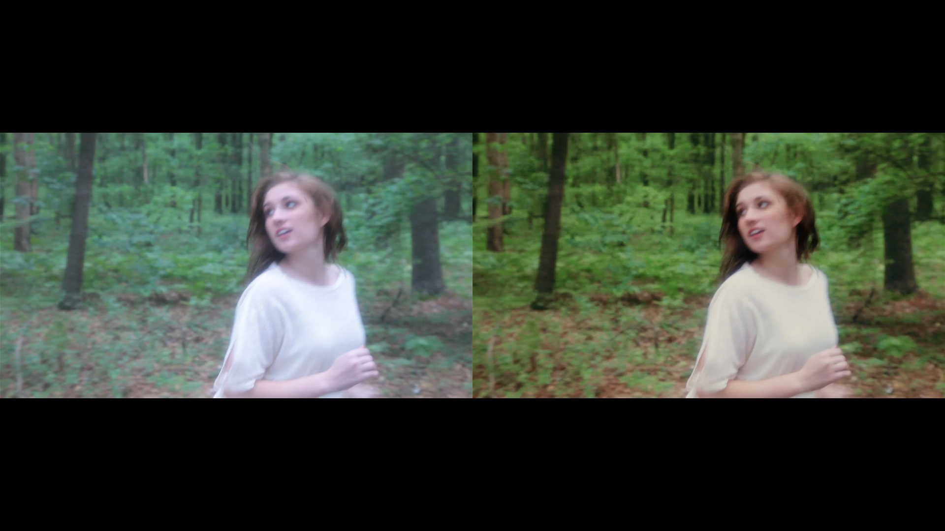 Color grading comparison screenshots from Geena Matuson's (@geenamatuson) short film 'My Big Bad Wolf' (2013).