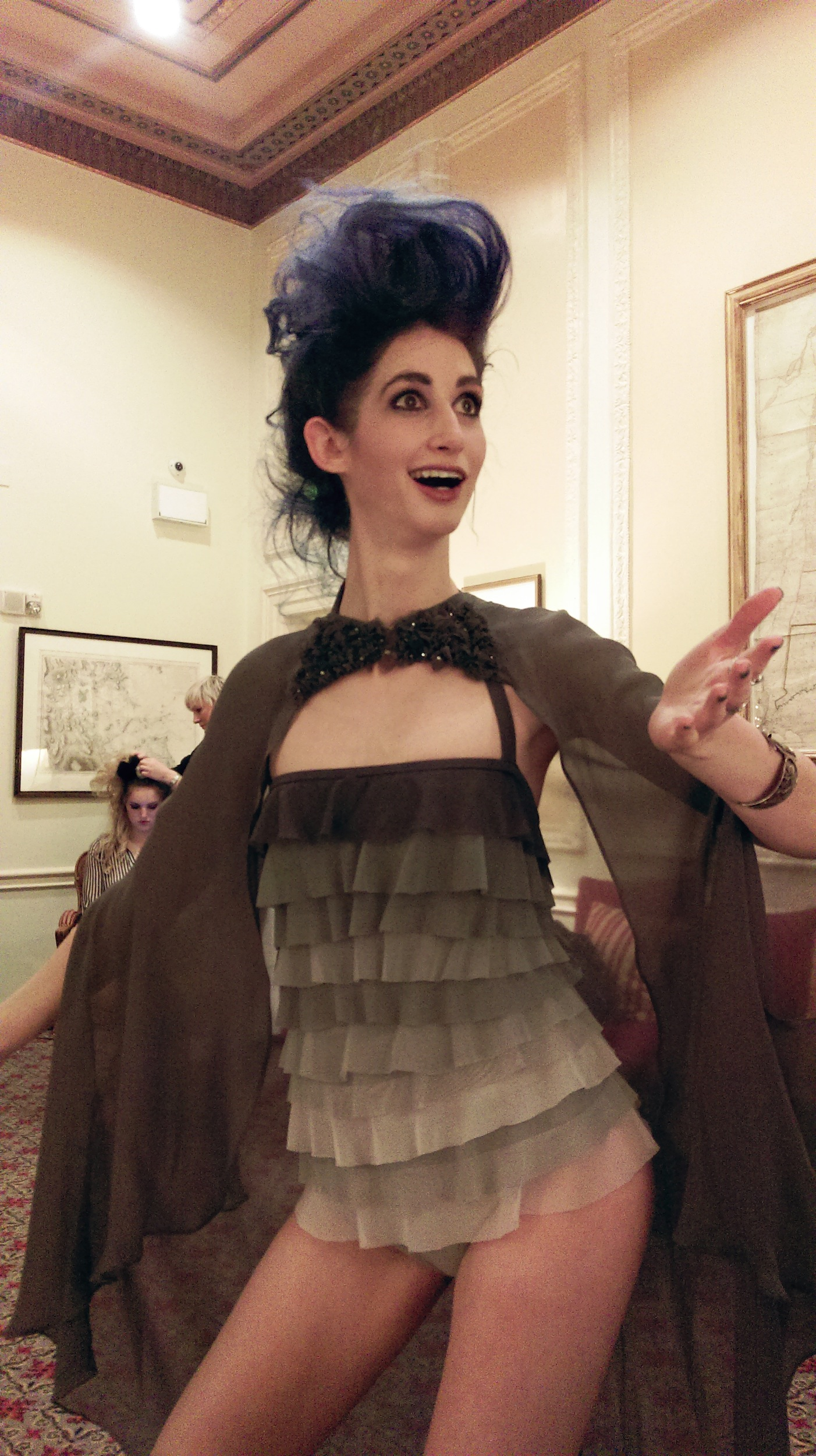 Geena Matuson (@geenamatuson) just after hair and make-up with Che Maksou for runway show, 2014.