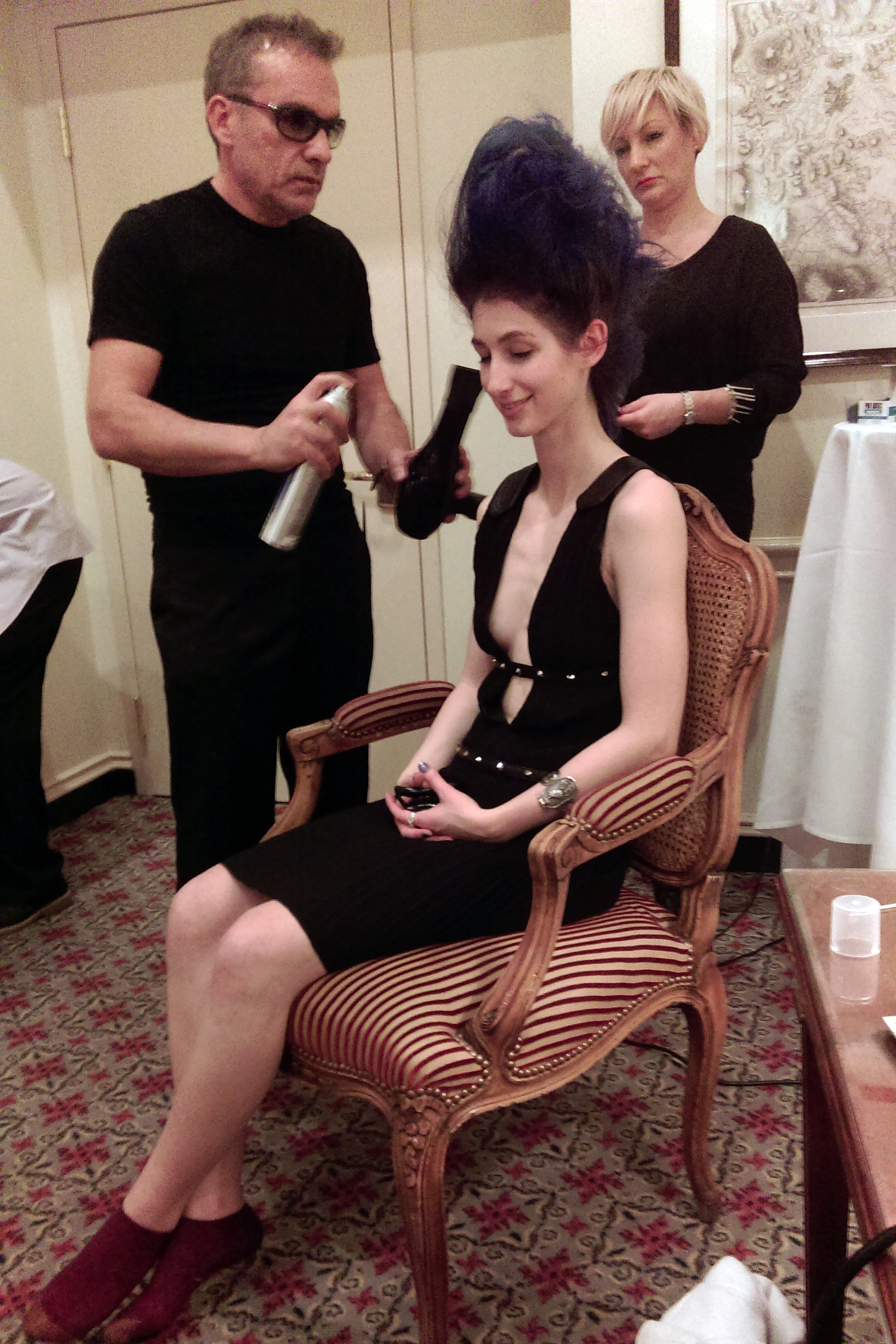 Geena Matuson (@geenamatuson) in hair and make-up with Che Maksou for runway show, 2014.