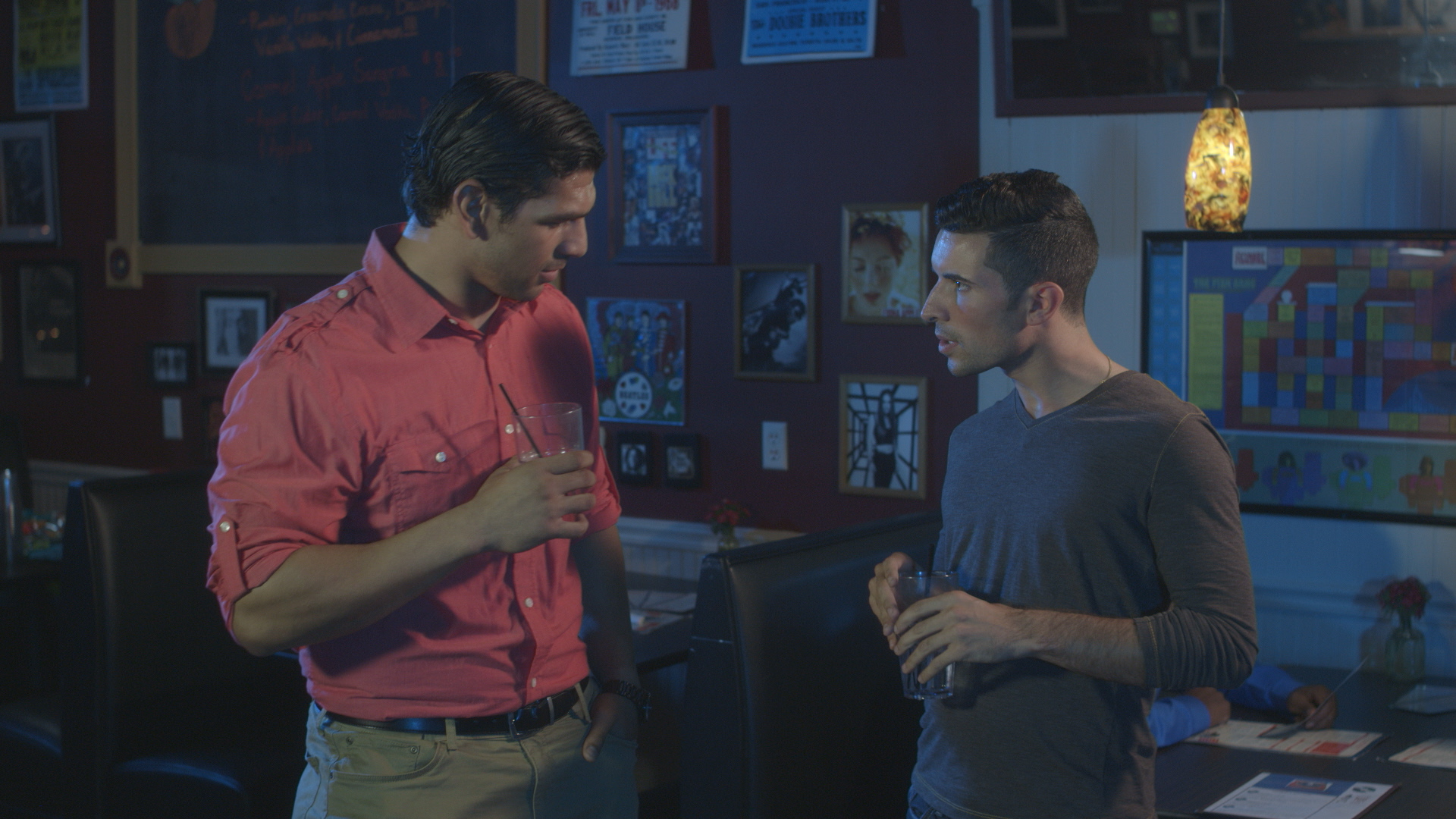 Casey William Hines and Andrew Morais in Geena Matuson's (@geenamatuson) upcoming short 'The Best A Man Can Get' filmed at Rock 'n' Roll Rib Joint in Medfield, MA. Cinematography by Denez McAdoo.