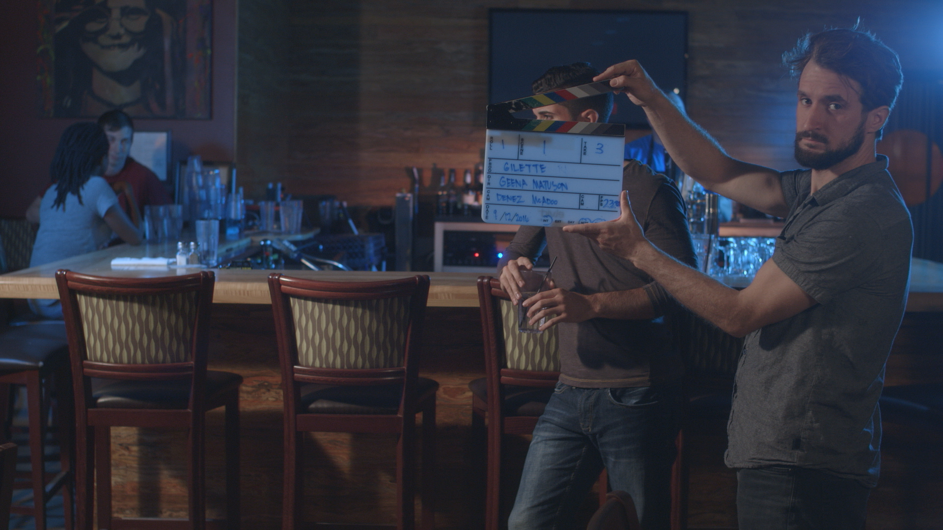 Assistant Camera Dylan Kiely calls the shot for actor Andrew Morais in Geena Matuson's (@geenamatuson) upcoming short 'The Best A Man Can Get' filmed at Rock 'n' Roll Rib Joint in Medfield, MA. Cinematography by Denez McAdoo.