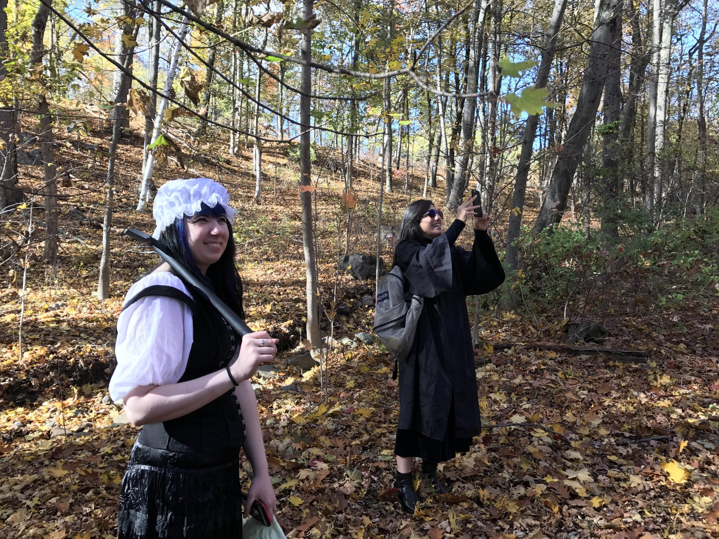 On the set of Reel Groovy Films shoot with Evelle and Mima, pilgrims transported through time with a great understanding of new technology, 2016.