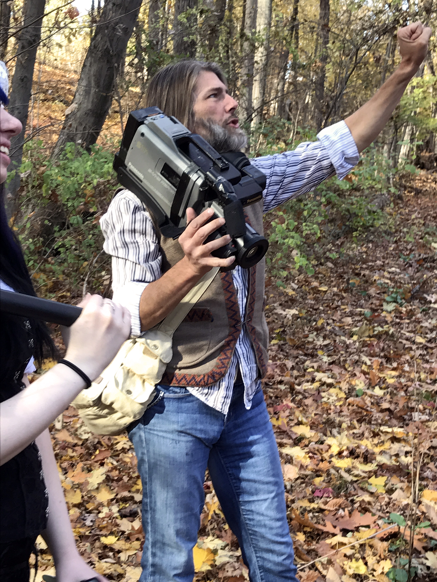 John Hartman of Reel Groovy Films directs the pilgrims for his shoot centered on the witches of Salem, 2016.