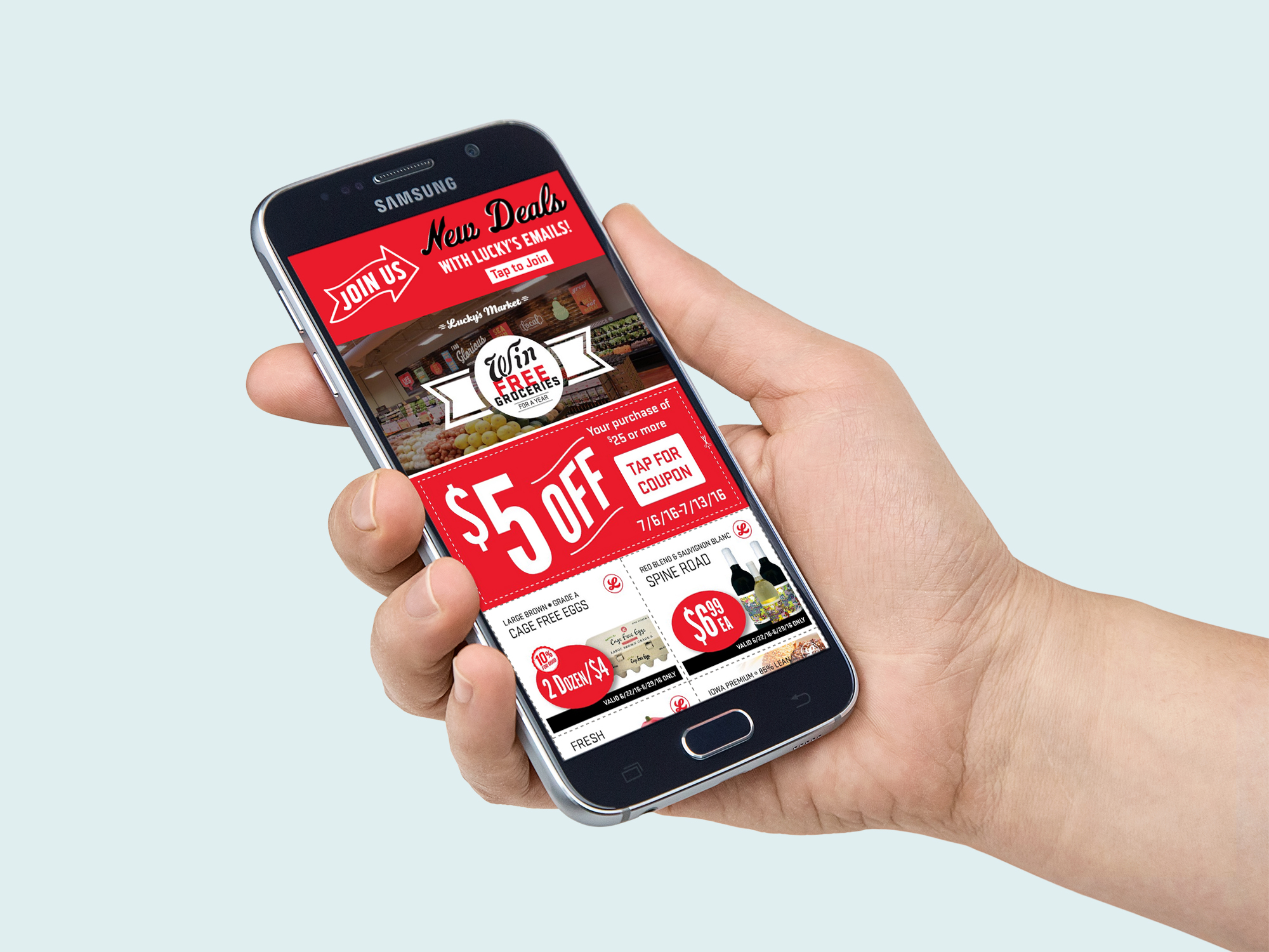 Lucky's Market mobile app mockup @geenamatuson #thegirlmirage