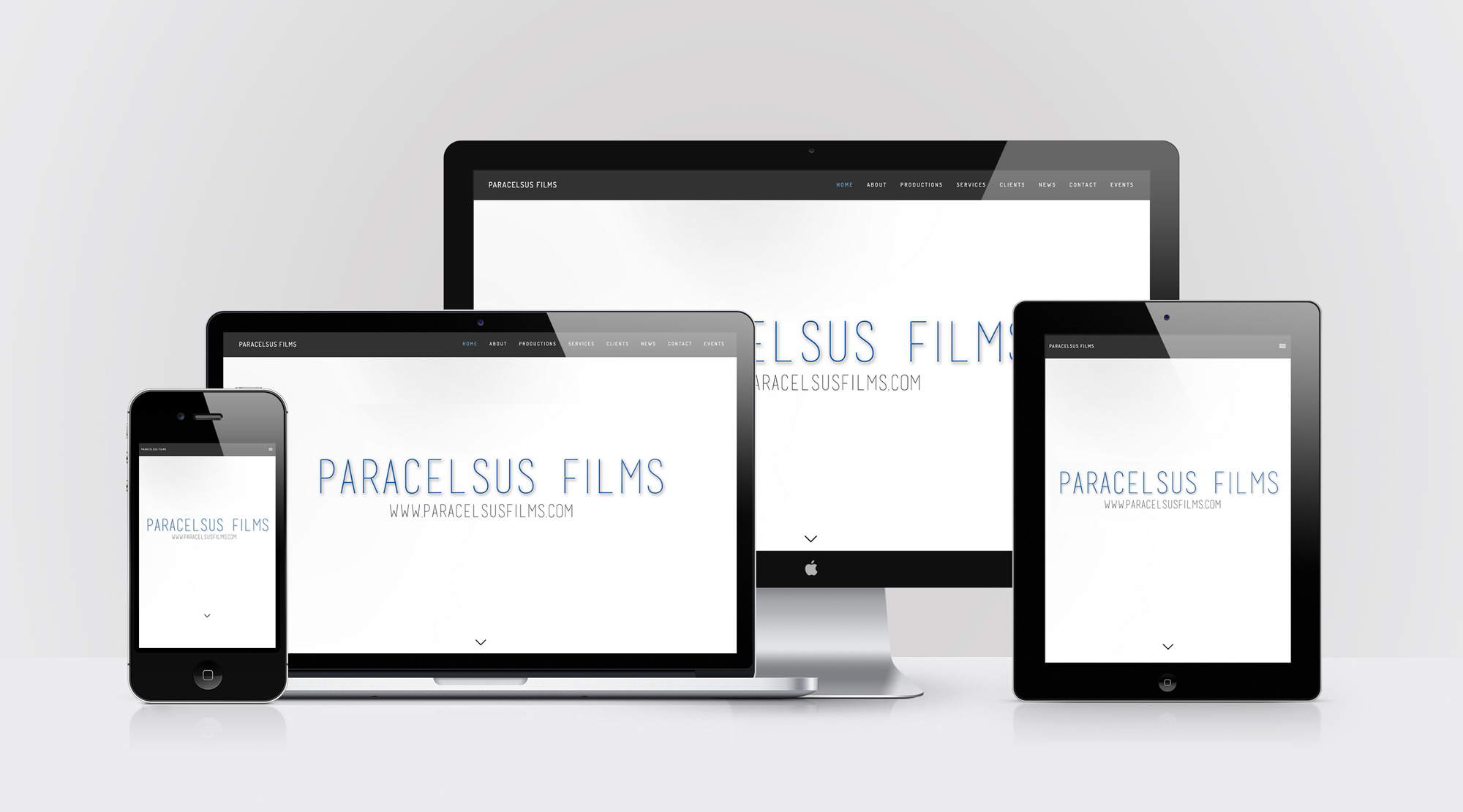 Device mockup for Paracelsus Films website design by Geena Matuson @geenamatuson #thegirlmirage.