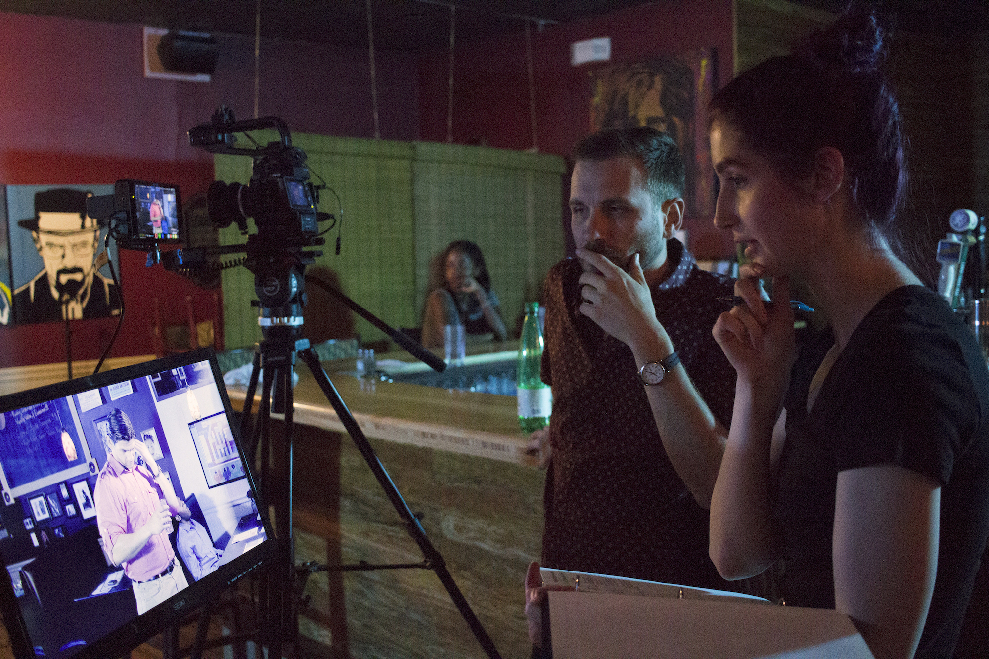 Director of Photography Denez McAdoo and Writer, Producer/Director Geena Matuson (@geenamatuson) on the set of her production of 'Fauxmercials' bar ads, September 2016.
