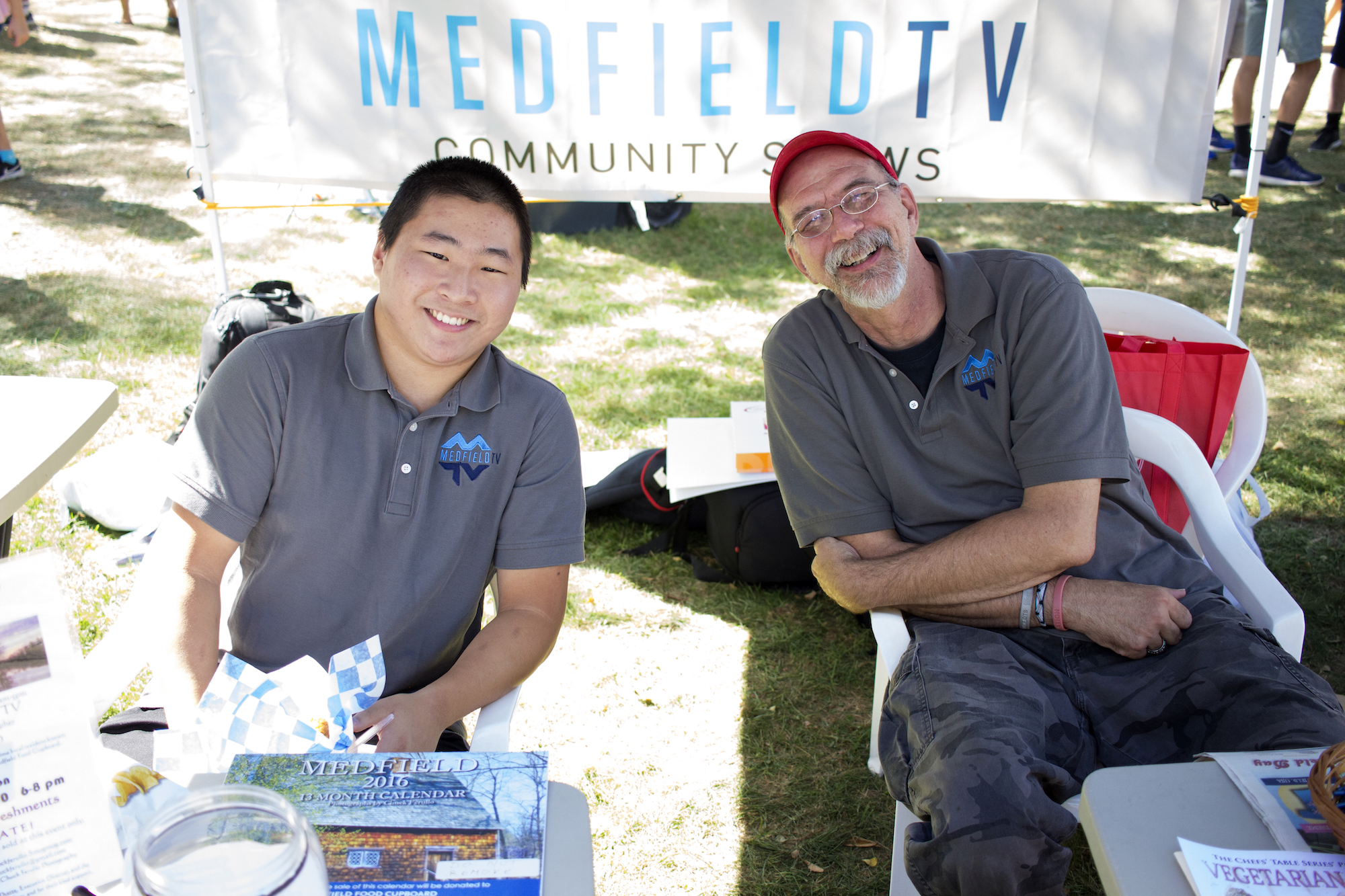 Sam and Jim represent Medfield TV, a booth promoting our local cable station.