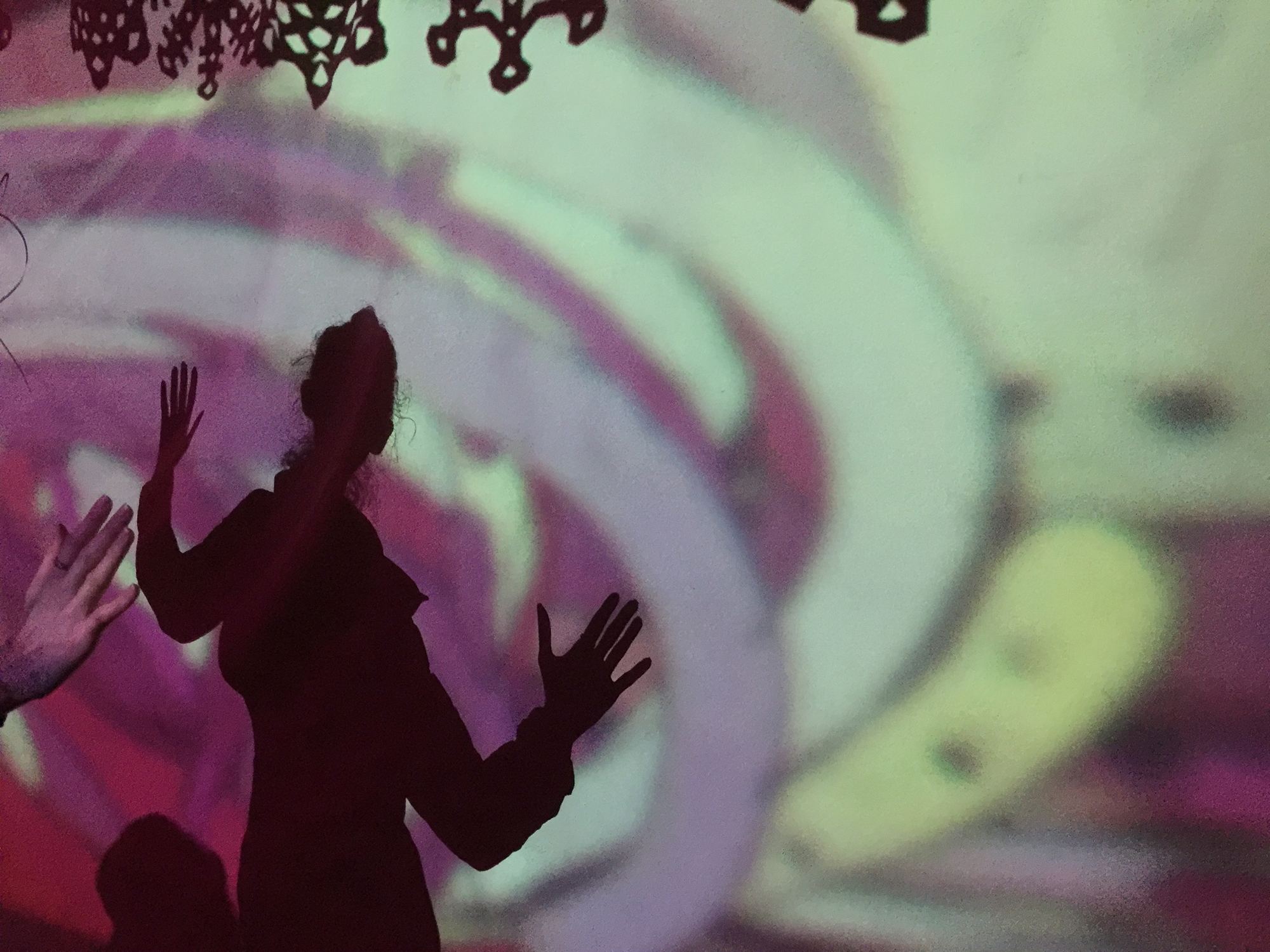 Geena Matuson (@geenamatuson) against a psychedelic backdrop at Tel-Aviv's club  Pasáž (Passage)  with Jessica Harshman.