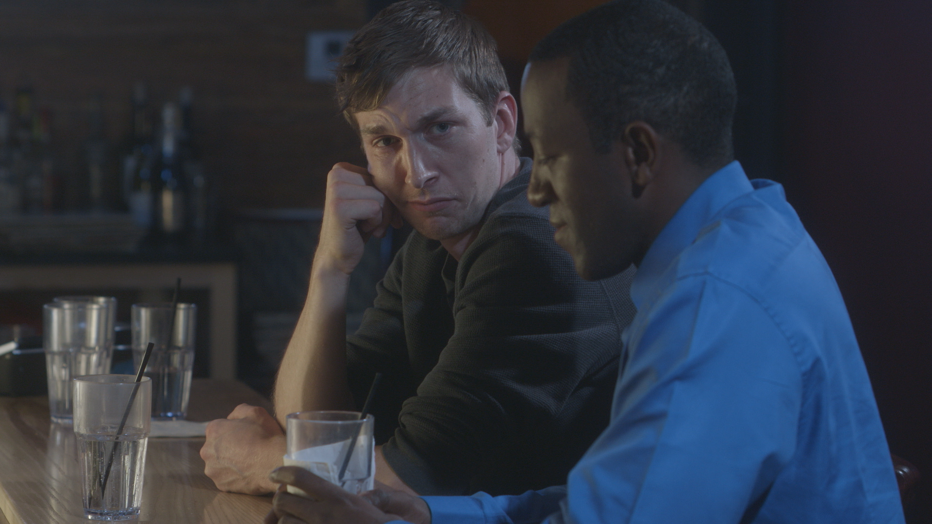Chris Fisher and Jamaal Eversley in Geena Matuson's (@geenamatuson) short 'Depends,' filmed at Rock 'n' Roll Rib Joint in Medfield, MA. Cinematography by Denez McAdoo.