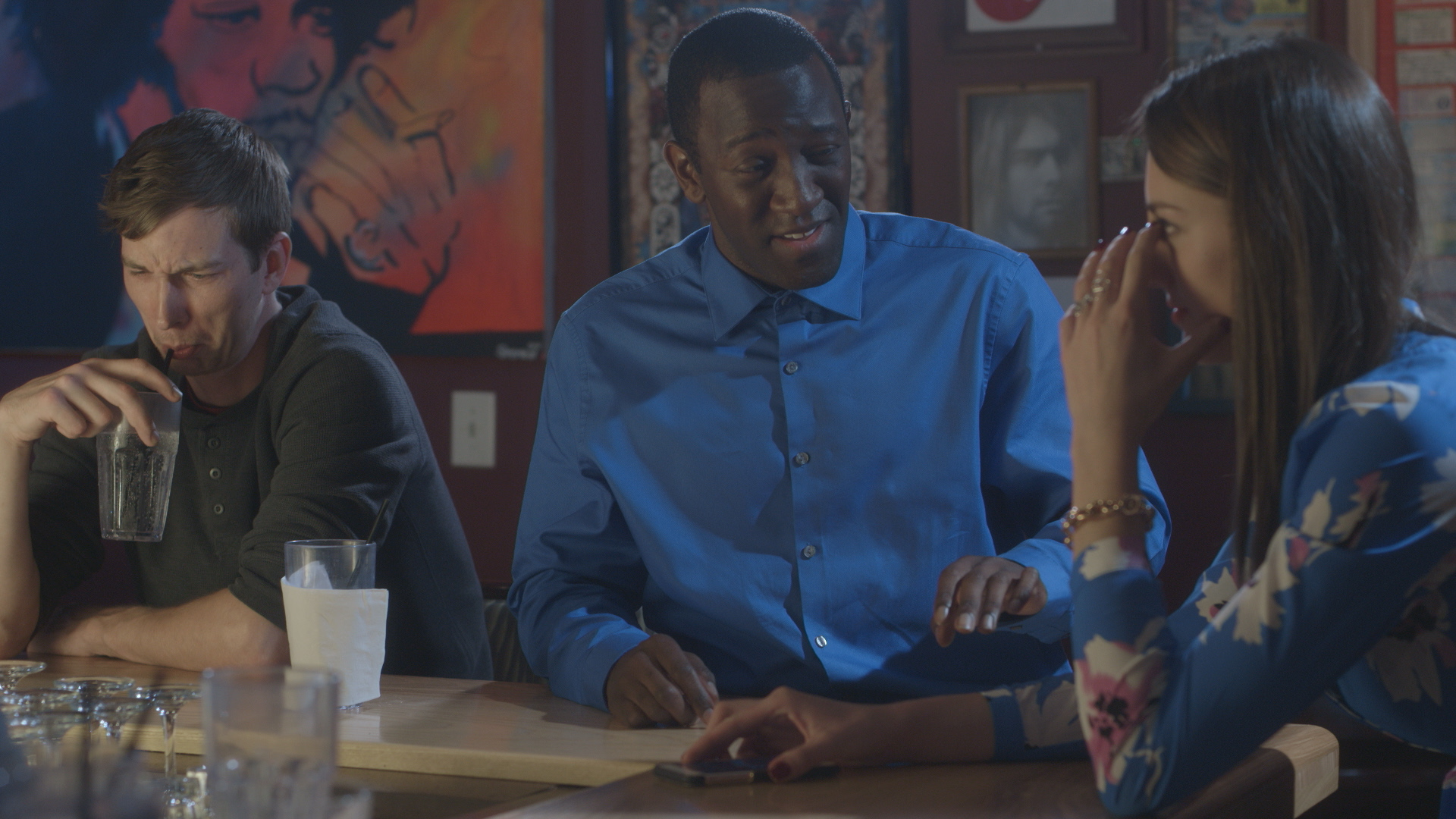Chris Fisher, Jamaal Eversley and Samantha Webb in Geena Matuson's short 'Depends,' filmed at Rock 'n' Roll Rib Joint in Medfield, MA. Cinematography by Denez McAdoo. See more work by The Girl Mirage #thegirlmirage @geenamatuson.
