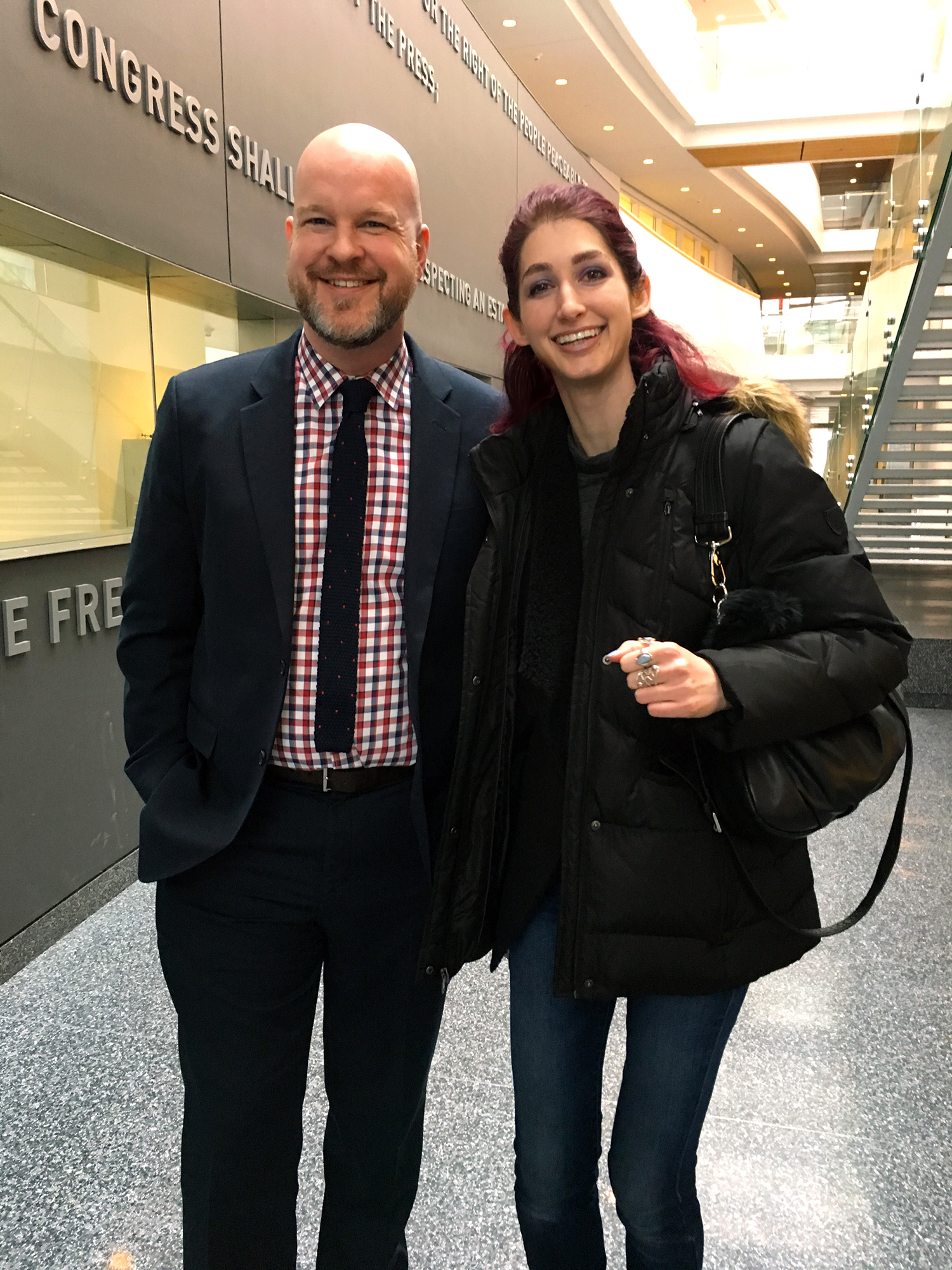 Goldring Arts Journalism Director Eric Grode welcoming accepted student Geena Matuson to the Masters Preview Day at Syracuse University, March 2017.
