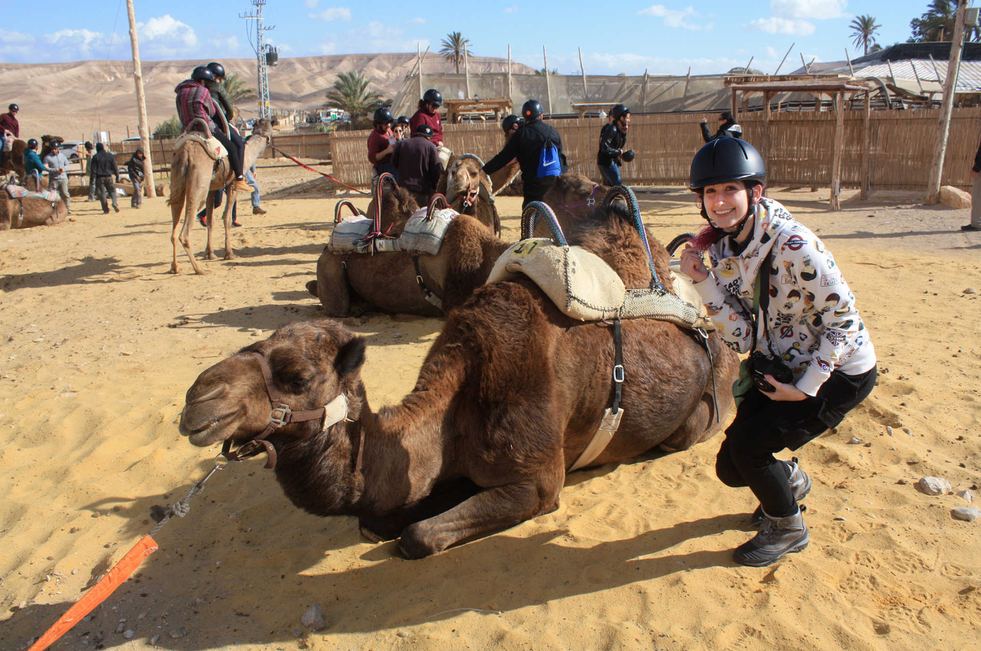 Geena Matuson with her camel on trip to Israel in December 2016 with Birthright Israel group Shorashim #Bus636. Photograph taken by Jessica Gallagher Steuver.