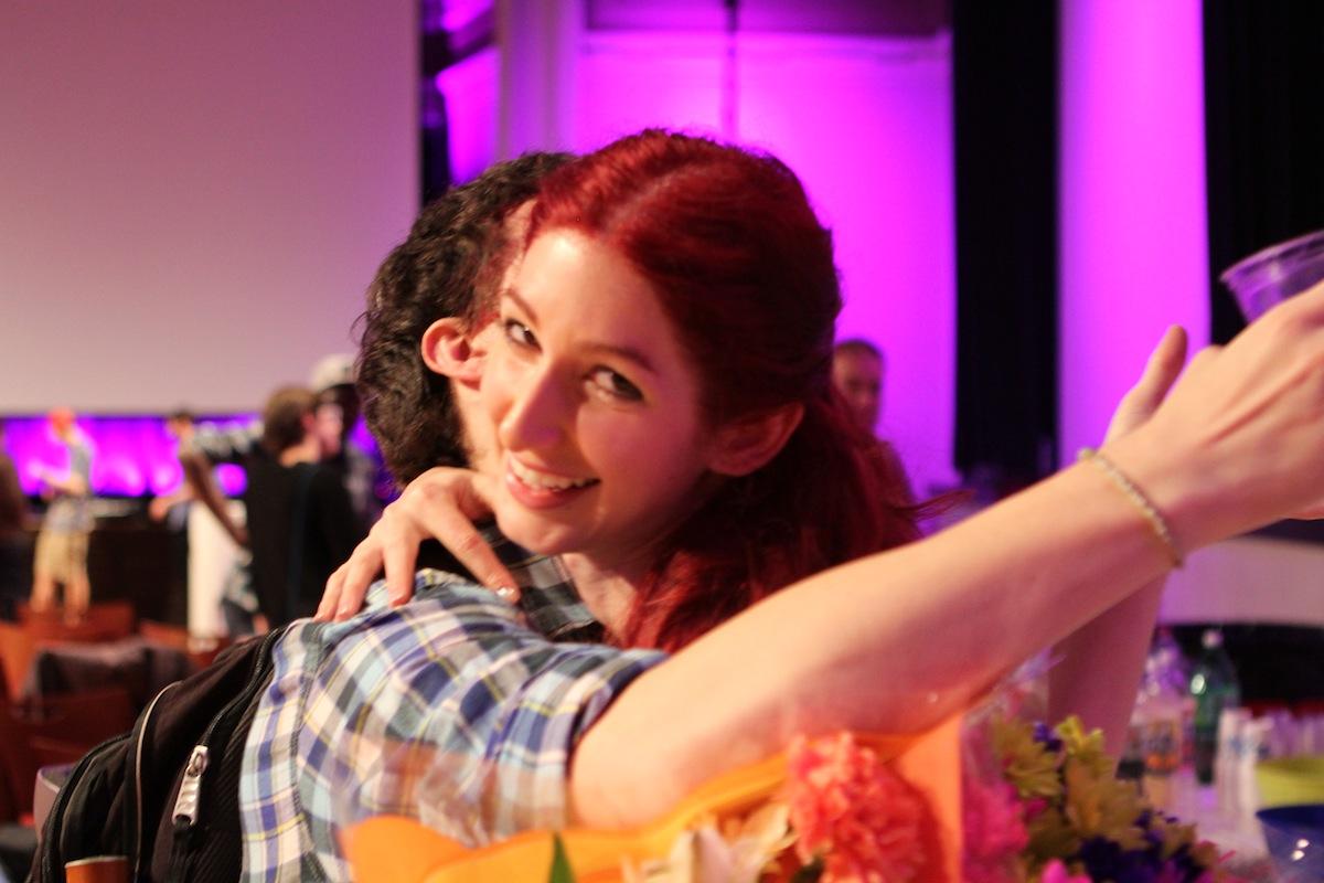 Geena Matuson (@geenamatuson) with MassArt alumnus Josh Deveau at the premiere of Matuson's thesis film 'My Big Bad Wolf,' 2013.
