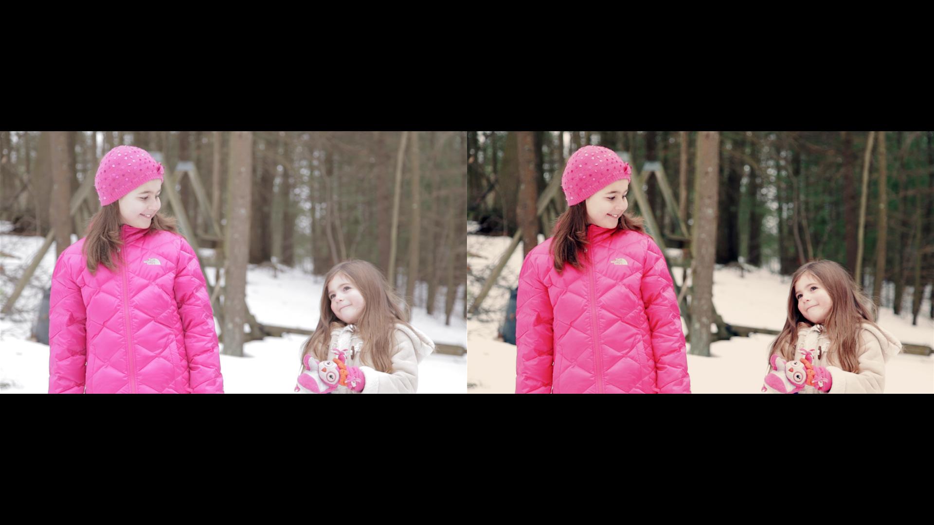 Comparison video stills of Geena Matuson's (@geenamatuson) music video 'Giraffe World.'