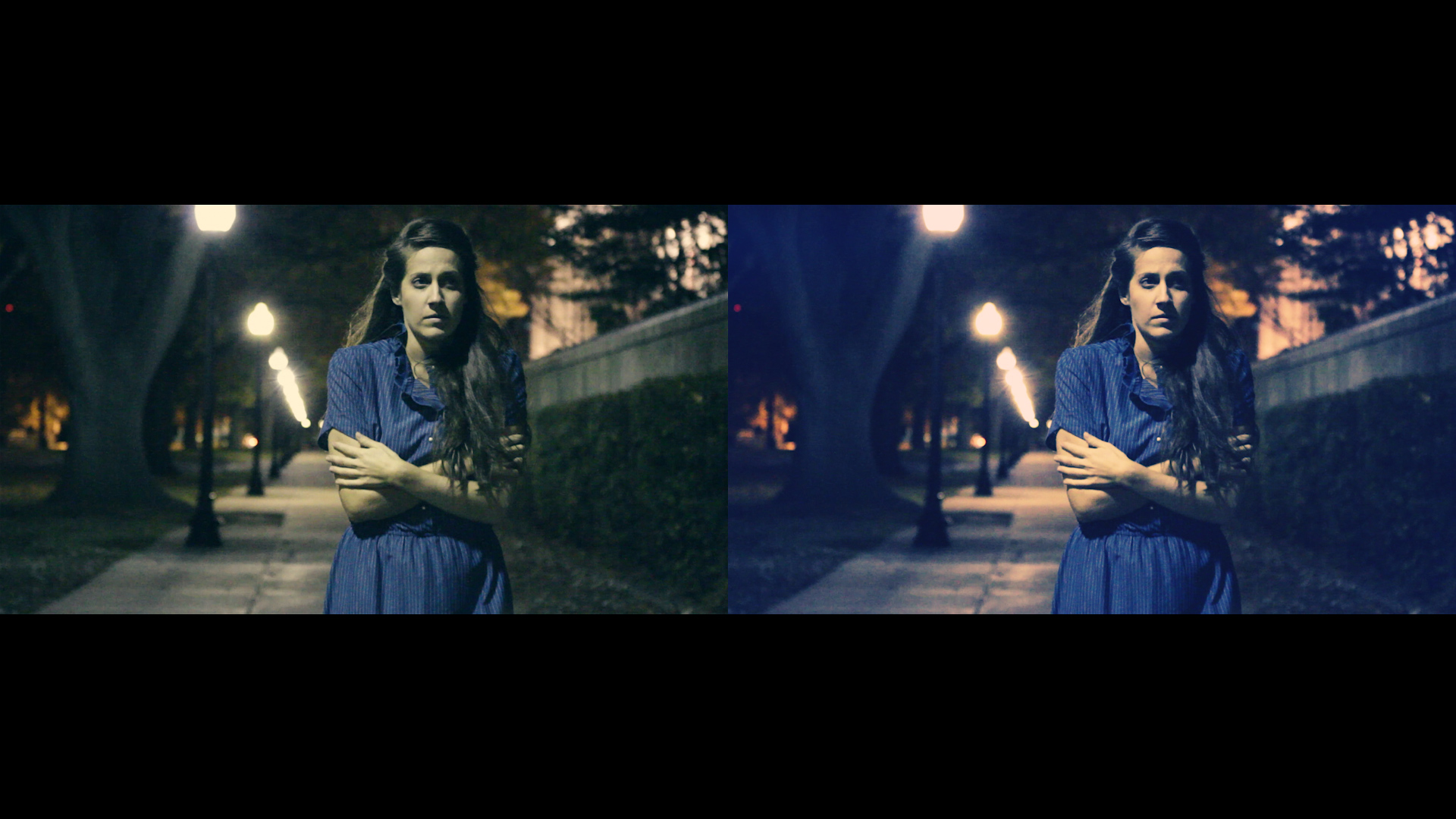 Comparison video stills of Geena Matuson's (@geenamatuson) music video 'Giraffe World.'
