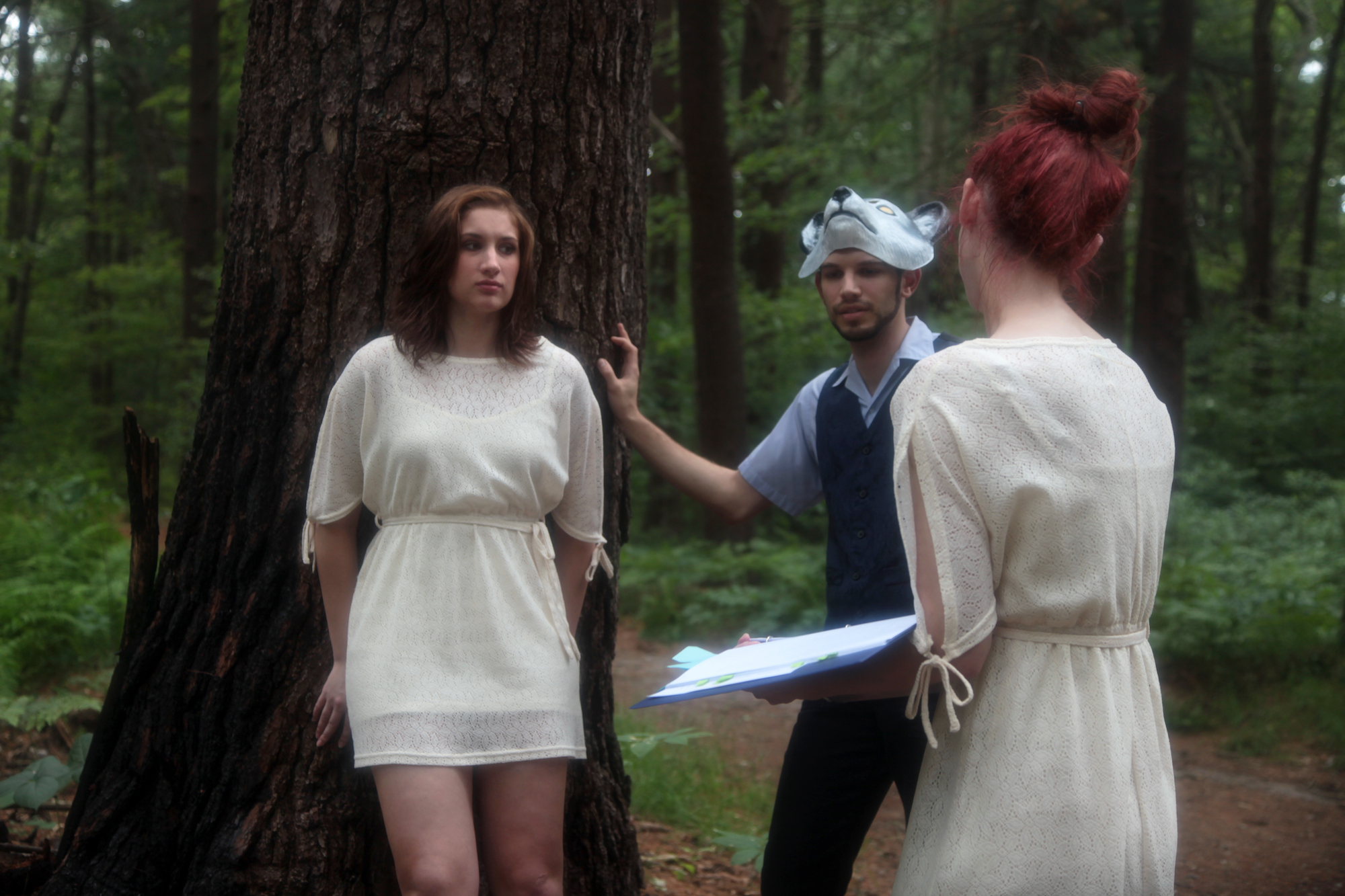 Chelsea Ross Miller and Vasilios Asimakos given direction by Geena Matuson (@geenamatuson) on the set of her thesis film 'My Big Bad Wolf', 2013.