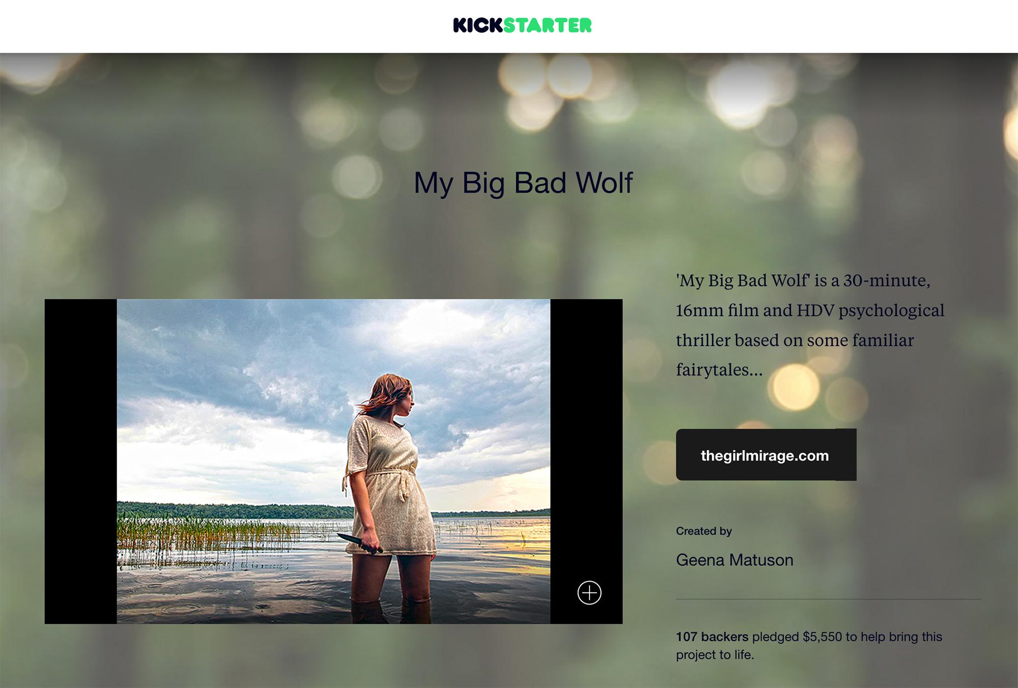 Screenshot of Geena Matuson's (@geenamatuson) successful Kickstarter campaign for thesis film My Big Bad Wolf, 2013.