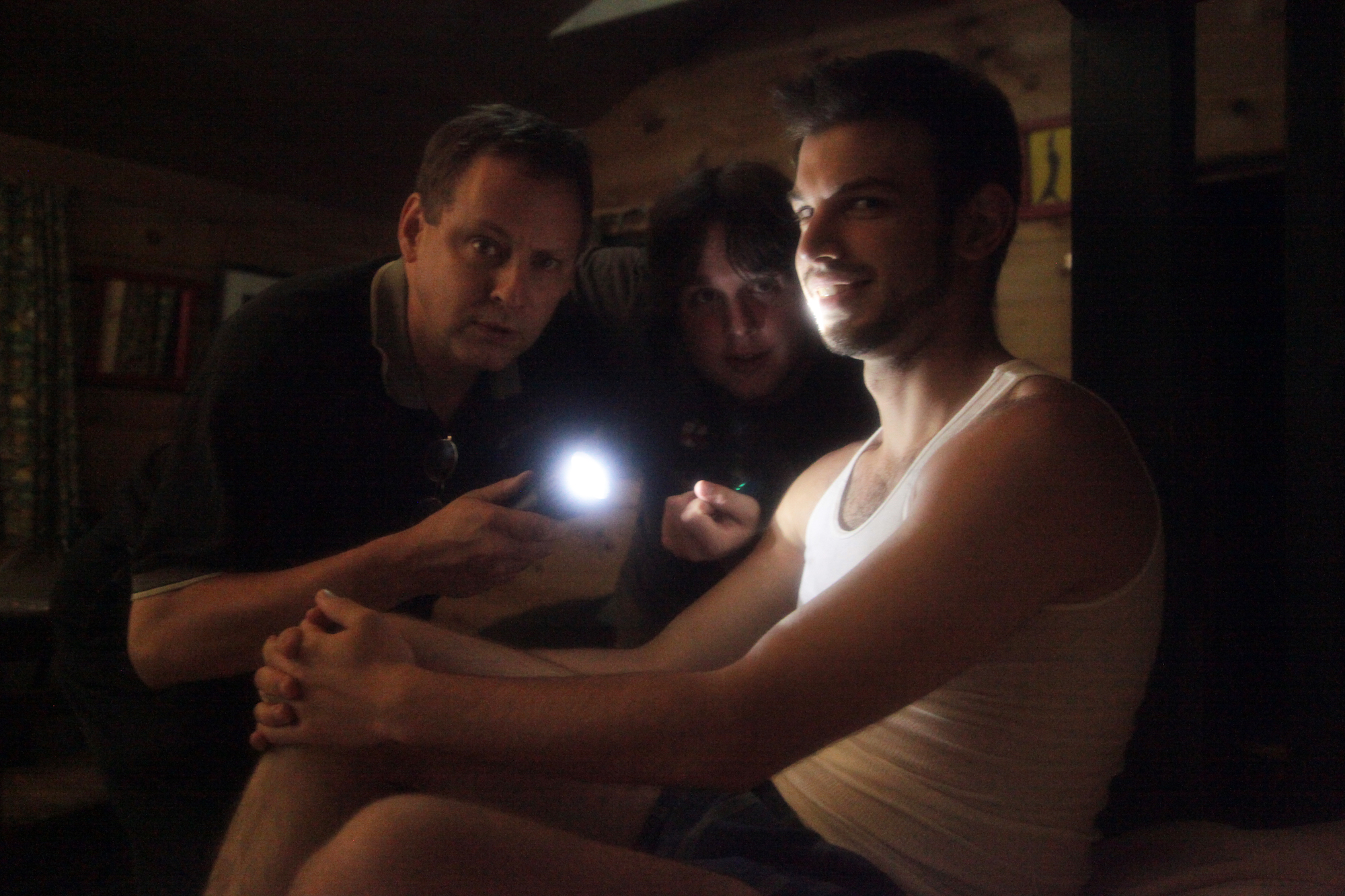 Vasilios Asimakos with crew behind the scenes for Geena Matuson's (@geenamatuson) experimental psychological thriller 'My Big Bad Wolf' (2013).