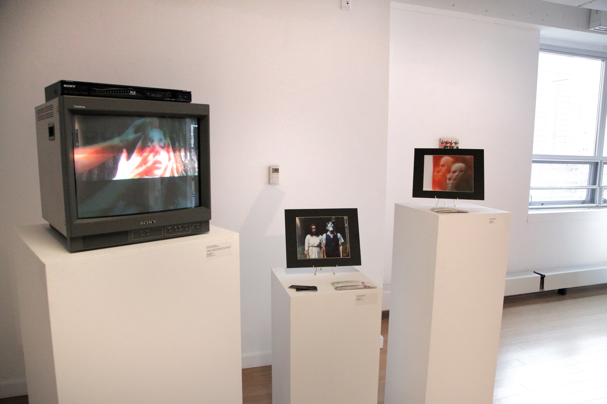 Featured TV with loop of Geena Matuson's trailer for 'My Big Bad Wolf.' / Geena Matuson's (@geenamatuson) TransFIREmation Gallery Show & Installation in the MassArt Student Life Gallery in Boston, MA, US.
