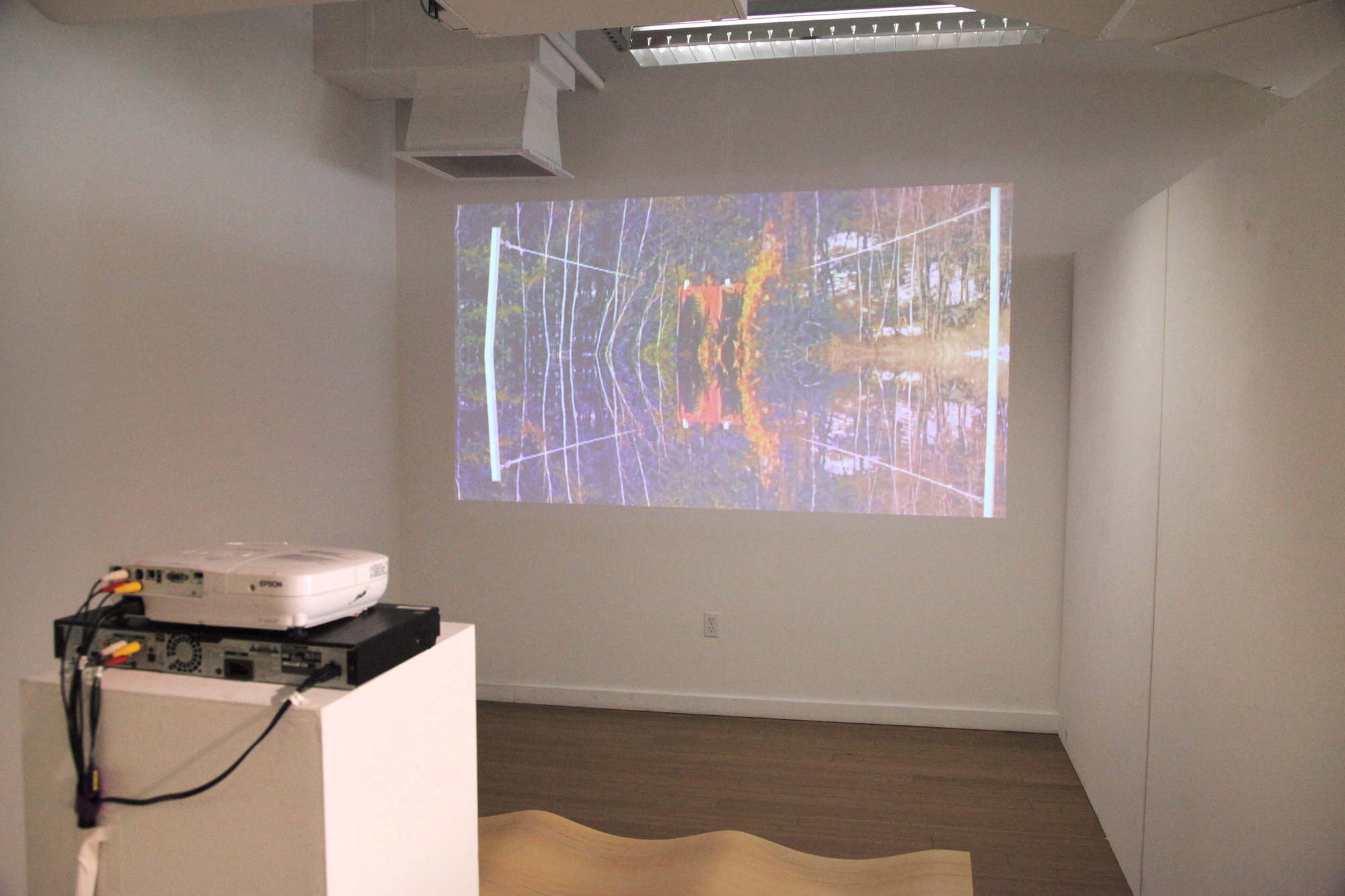 Featured Geena Matuson projection of multimedia series 'Liar Liar.' / Geena Matuson's (@geenamatuson) TransFIREmation Gallery Show & Installation in the MassArt Student Life Gallery in Boston, MA, US.