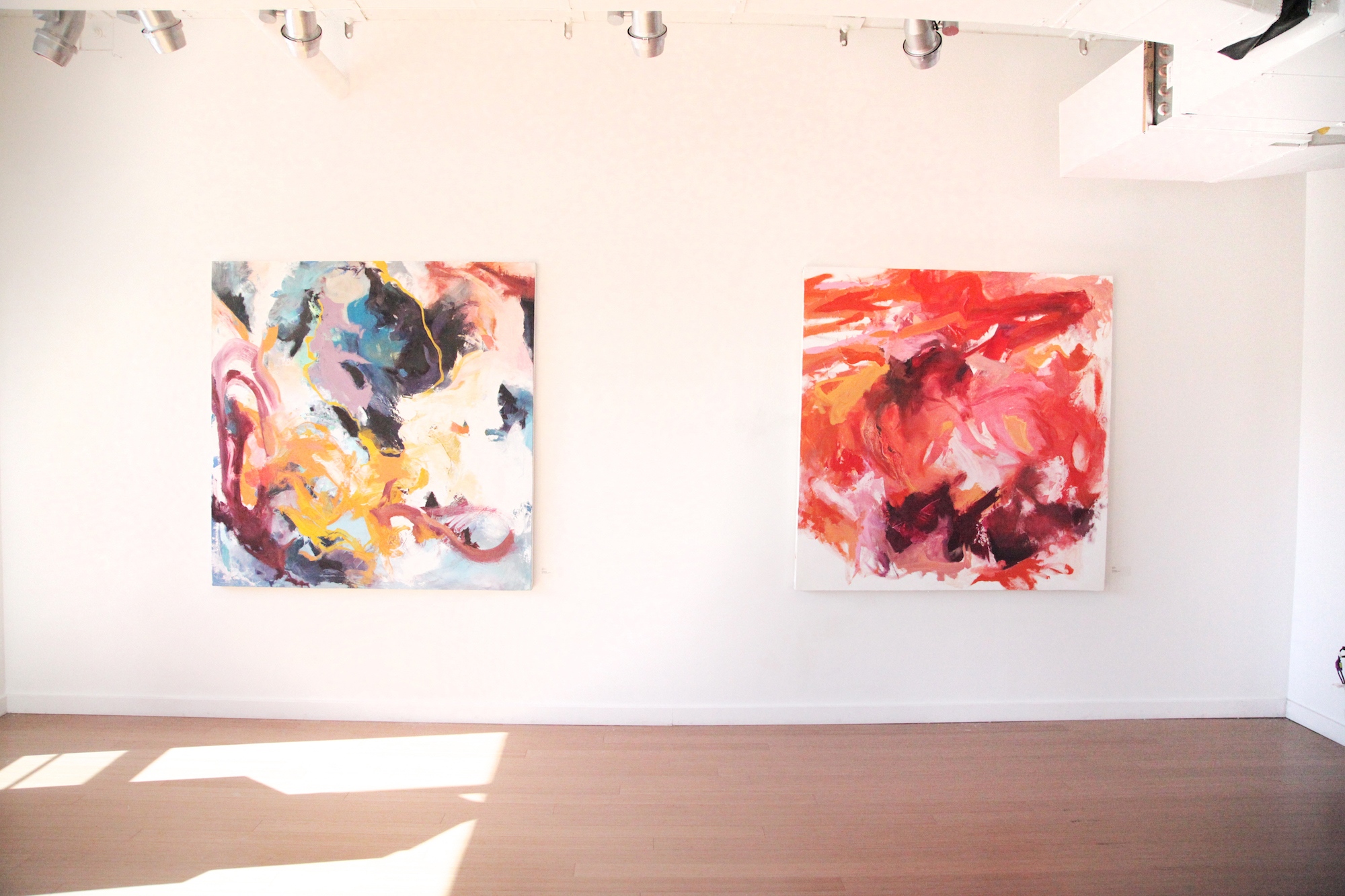 Featured Carly Sheehan paintings. / Geena Matuson's (@geenamatuson) TransFIREmation Gallery Show & Installation in the MassArt Student Life Gallery in Boston, MA, US.