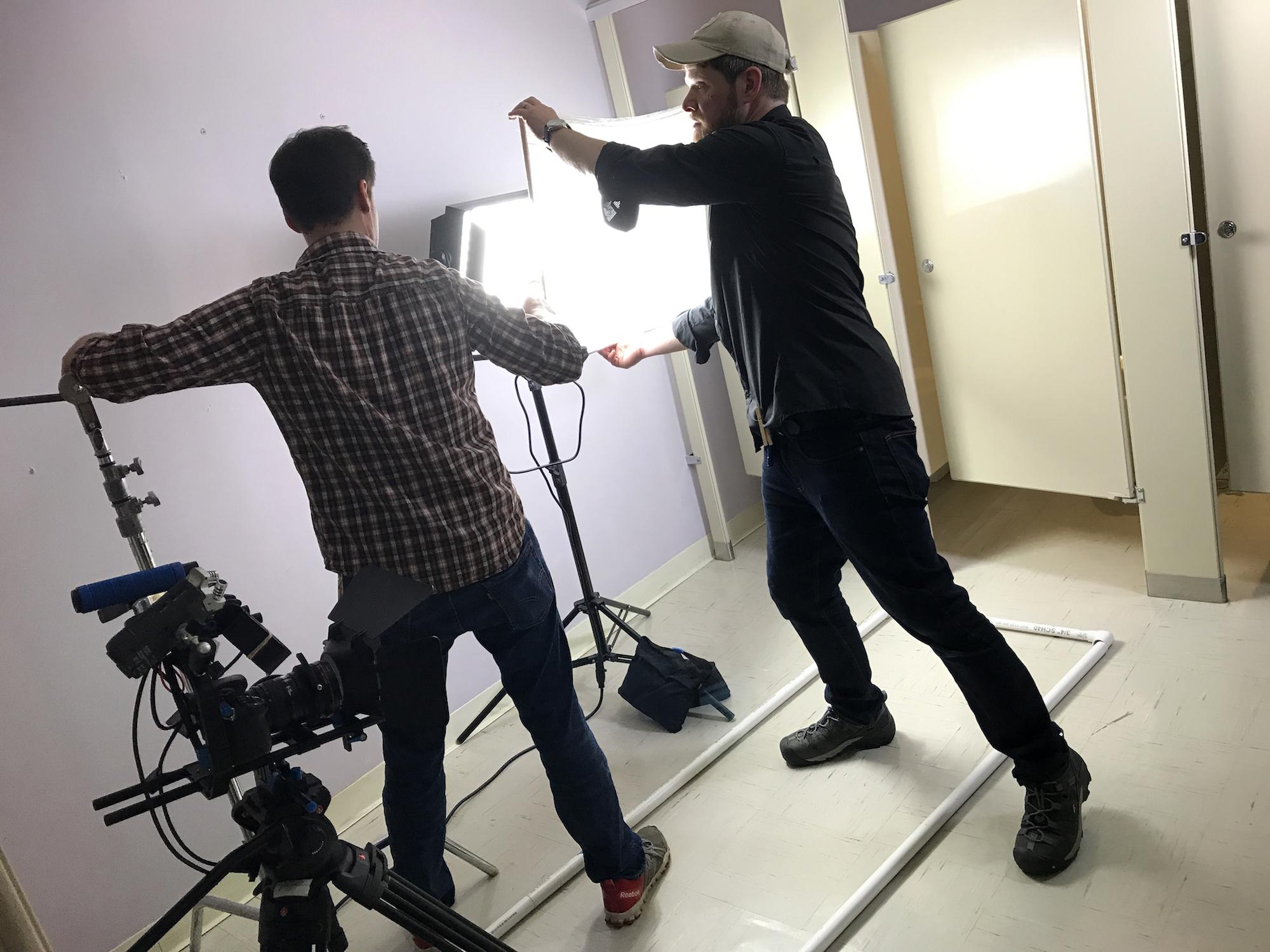 Dan Perez de la Garza and Andrew Frechette behind the scenes on Geena Matuson's (@geenamatuson) video 'Dump Trump,' part of her #Fauxmercials series in 2017. See more @ thegirlmirage.com.