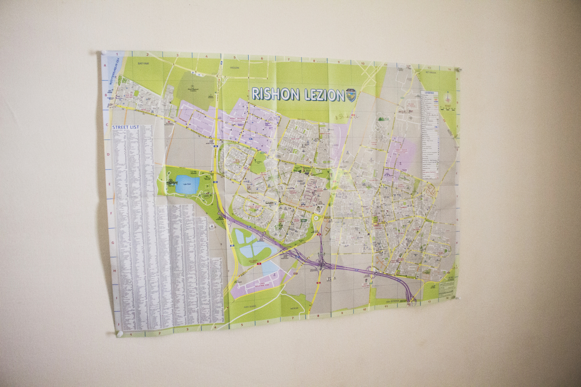 A city map of Rishon LeZion, Israel, photographed in September, 2017.