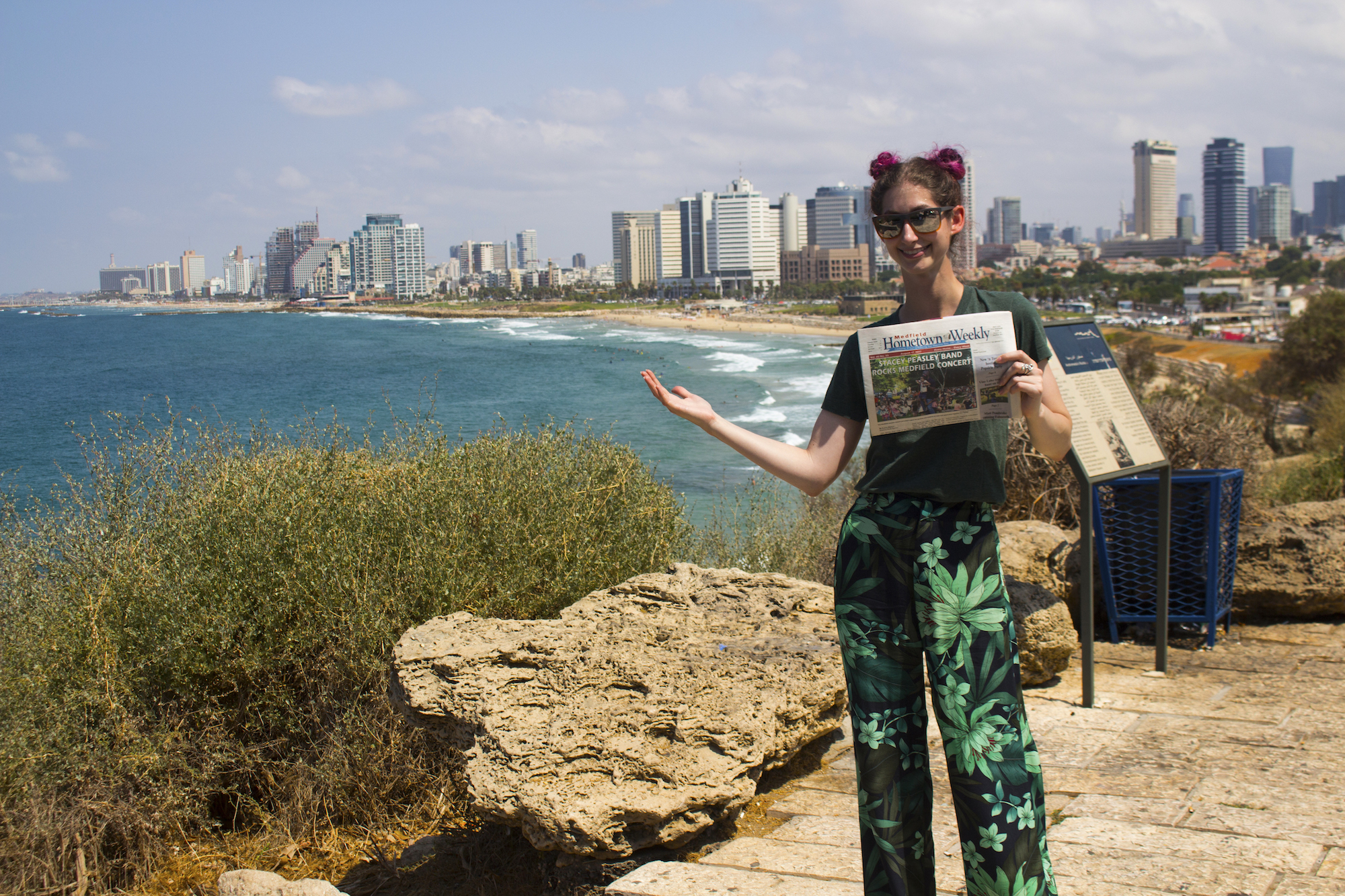 Geena Matuson reppin' Hometown Weekly Newspapers in Tel Aviv-Yafo, Israel, 2017. See more #travel photography at thegirlmirage.com @geenamatuson.