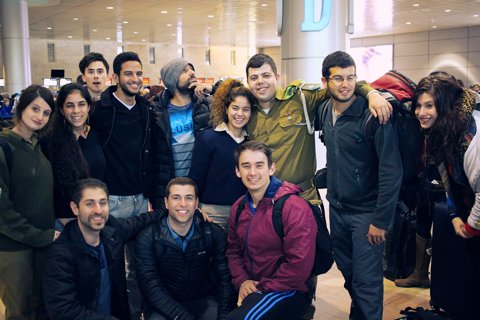 Several members of the Shorashim #Bus636 group heading back to the USA after a week-long trip through Israel, December 2016.