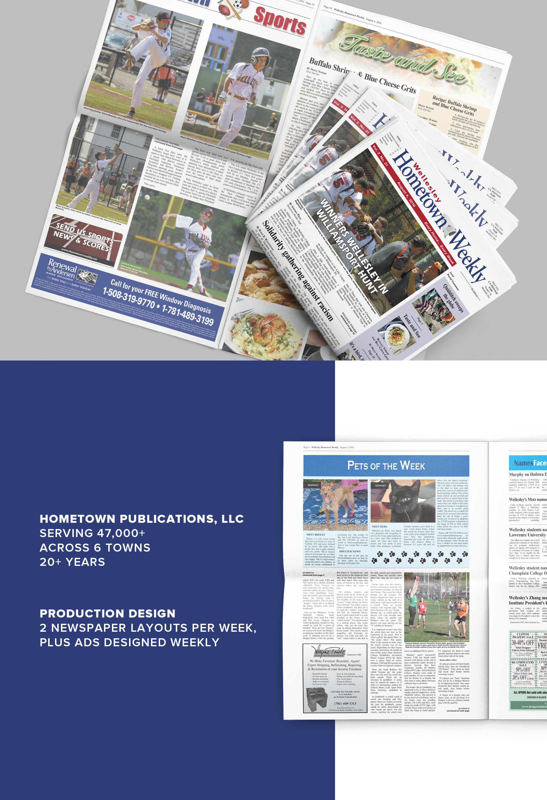 Mockup of Hometown Weekly Newspaper layout design by Geena Matuson @geenamatuson #thegirlmirage @ https://thegirlmirage.com.