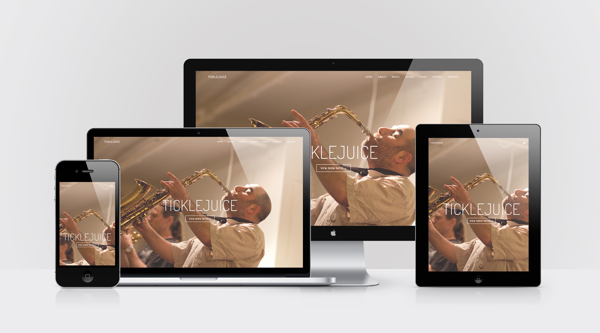 Device Mockups of Ticklejuice band website design by Geena Matuson @geenamatuson #thegirlmirage