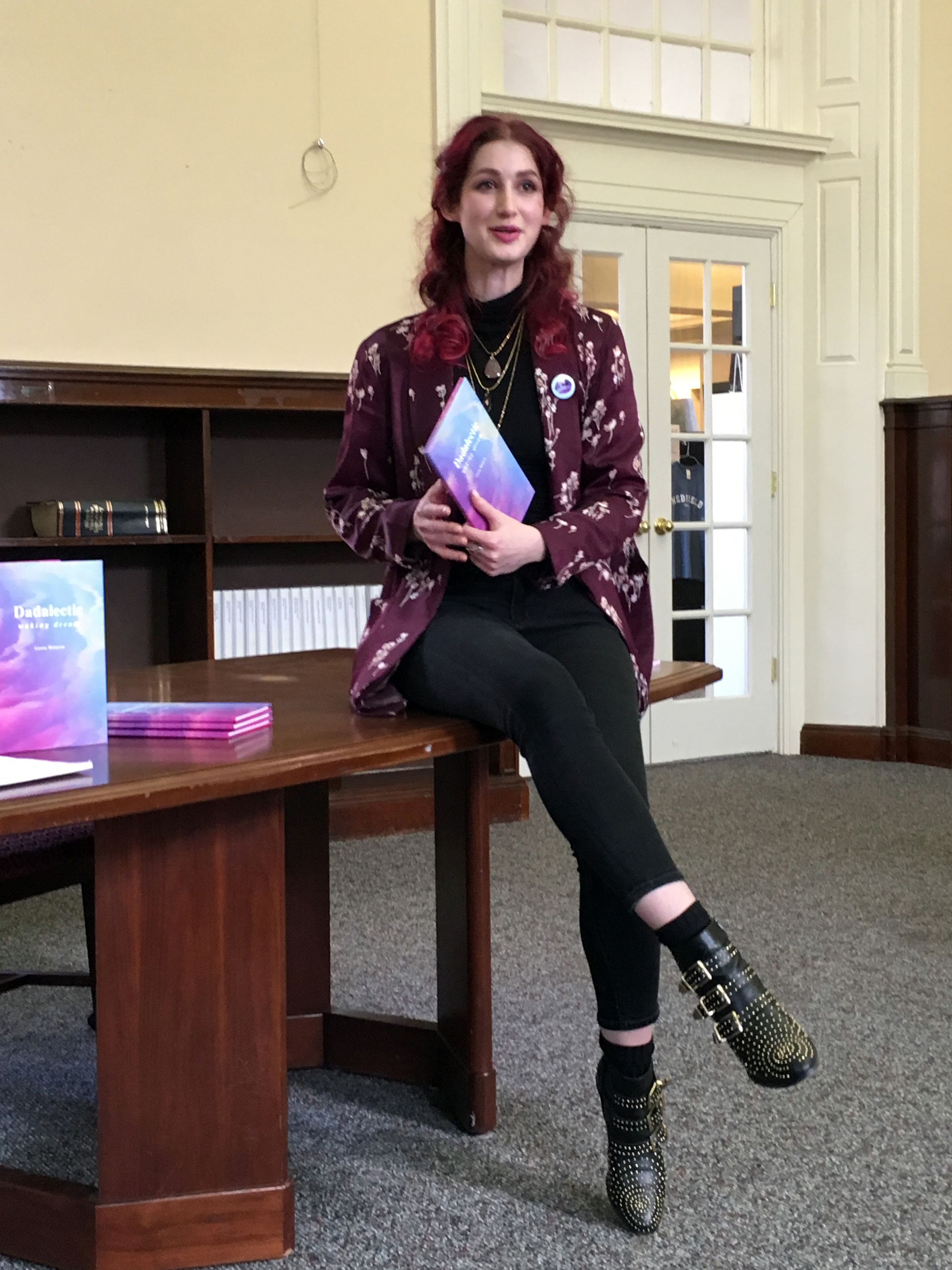 "Geena Matuson ""The Girl Mirage"" at her book reading and signing for first book ""Dadalectic: Waking Dream"" at Medfield Memorial Public Library, March 2018. See more @ http://dadalectic.com."