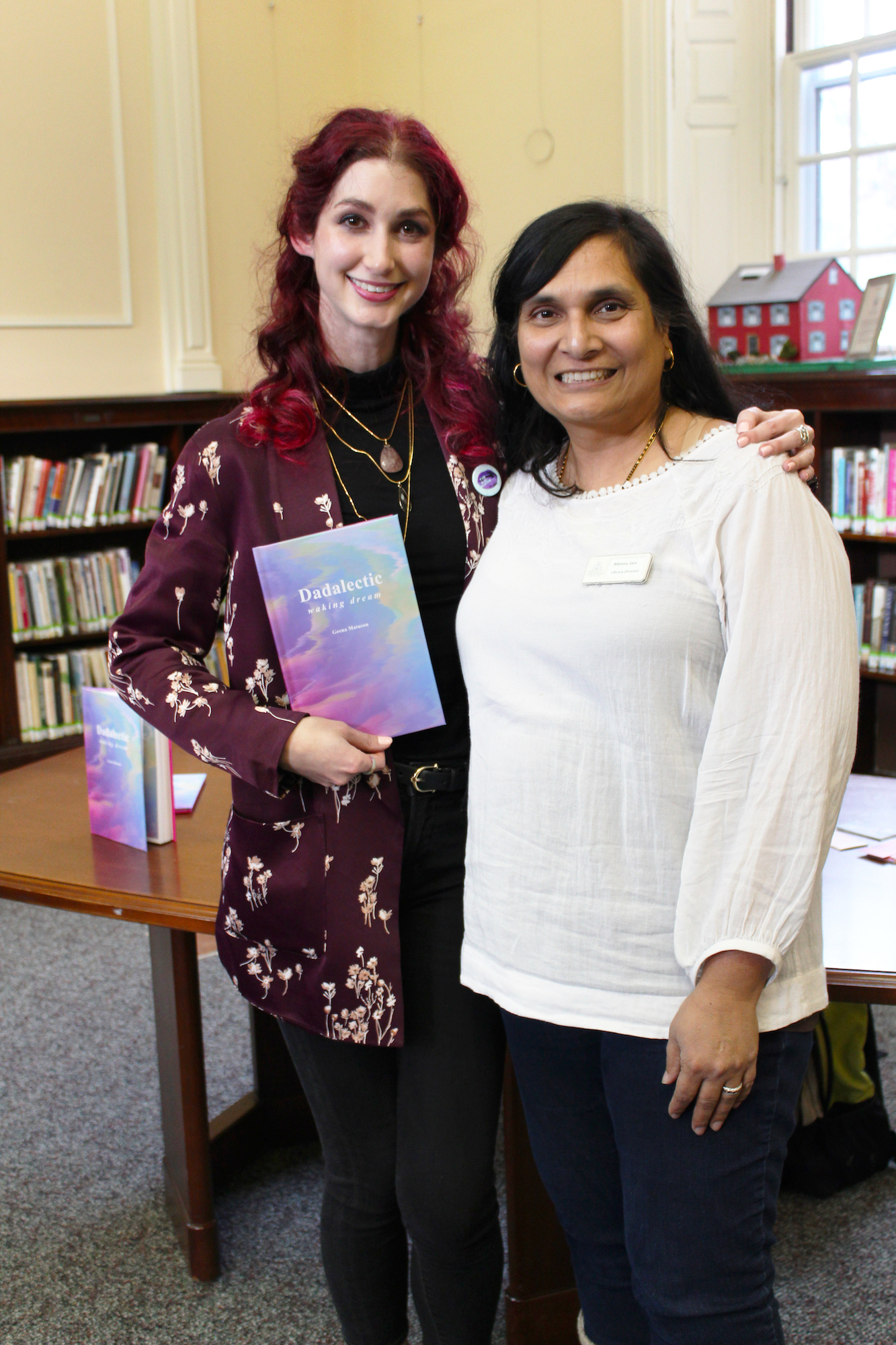 "Geena Matuson ""The Girl Mirage"" with Medfield Public Library Director Meena Jain at her book reading and signing for first book ""Dadalectic."" See more @ http://dadalectic.com."