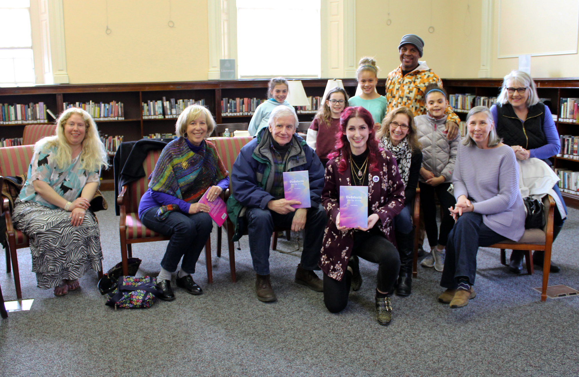 "Geena Matuson with captive audience at her book reading and signing for first book ""Dadalectic: Waking Dream"" held at Medfield Public Library, March 2018. See more @ http://dadalectic.com."