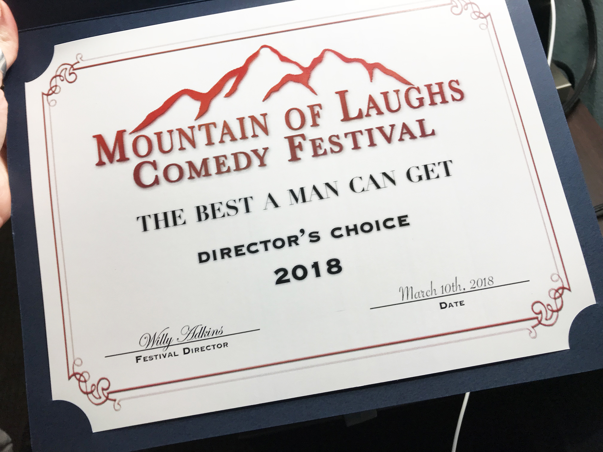 Geena Matuson (@geenamatuson) presented with Director's Choice Award at Breaking Fate Entertainment's Mountain of Laughs Comedy Film Festival in Gatlinburg, TN, 2018. See more @ https://thegirlmirage.com.