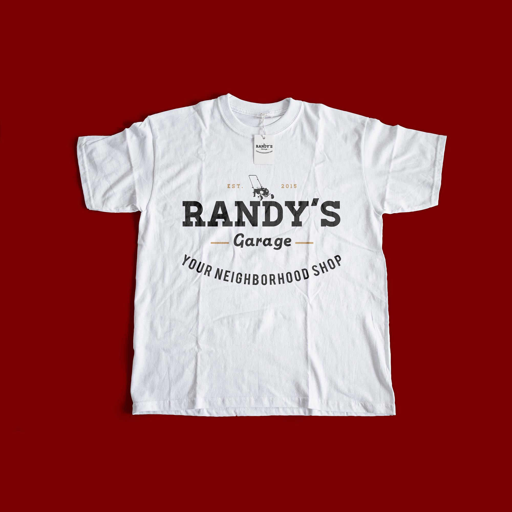 Tshirt Mockup of Randy's Garage logo design by Geena Matuson @geenamatuson #thegirlmirage
