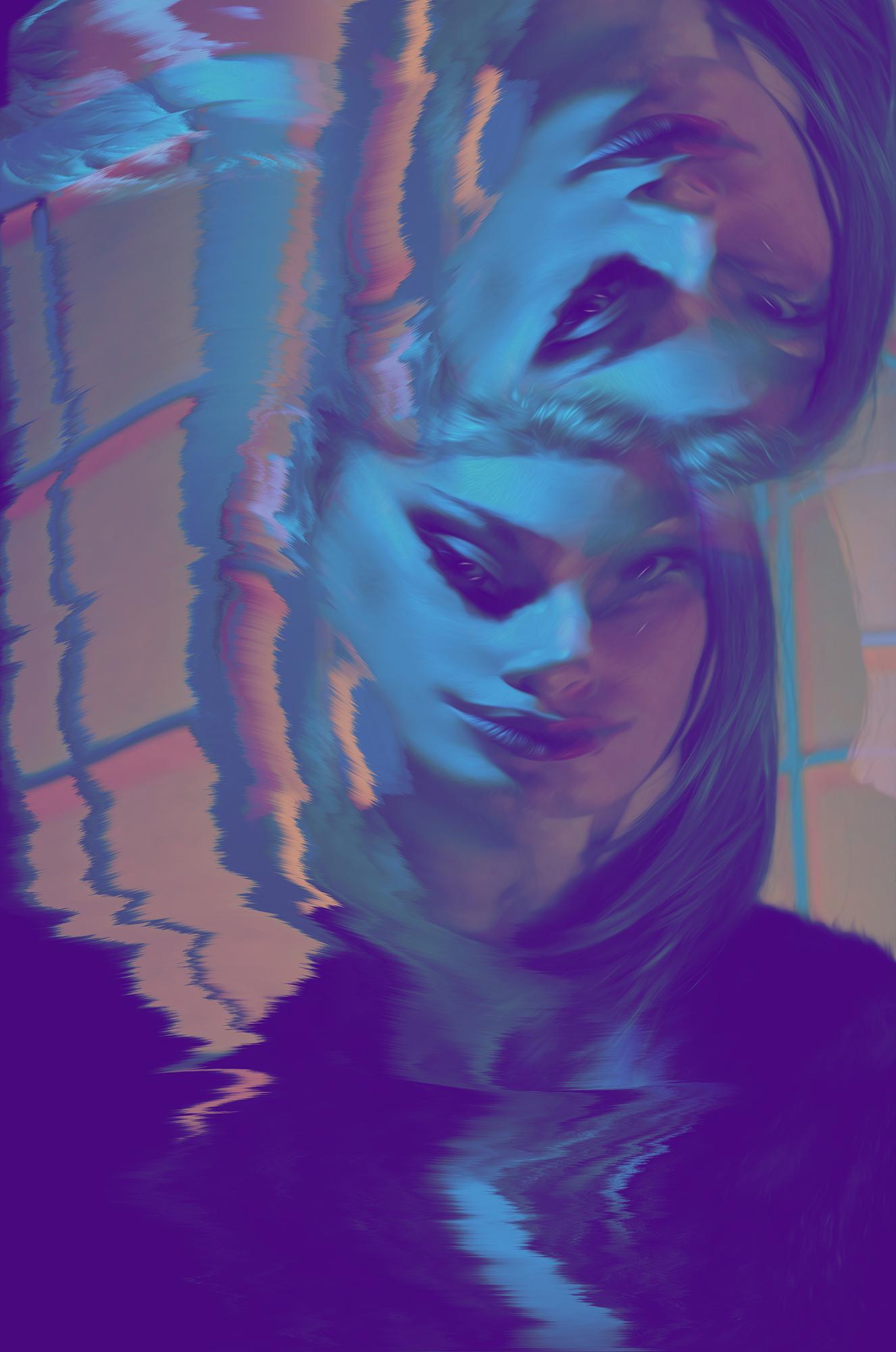"Artwork ""Three-Eye Seussy"" part of series ""The Girl Mirage"" by Geena Matuson @geenamatuson #thegirlmirage. See more @ https://thegirlmirage.com."