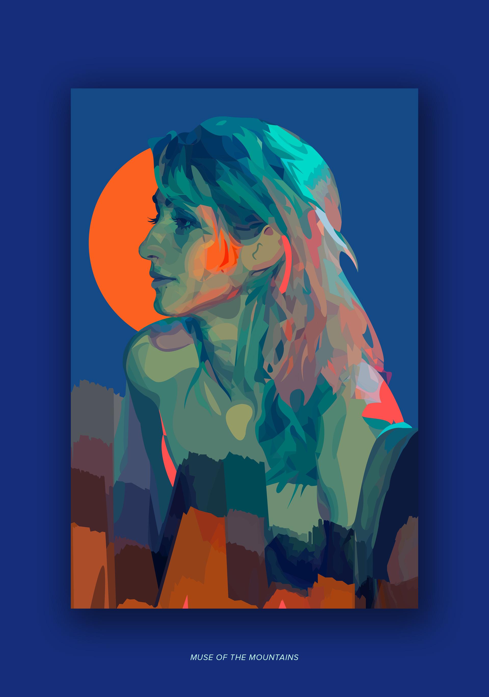"Artwork ""Muse of the Mountains"" part of series ""The Girl Mirage"" by Geena Matuson @geenamatuson #thegirlmirage. See more @ https://thegirlmirage.com."