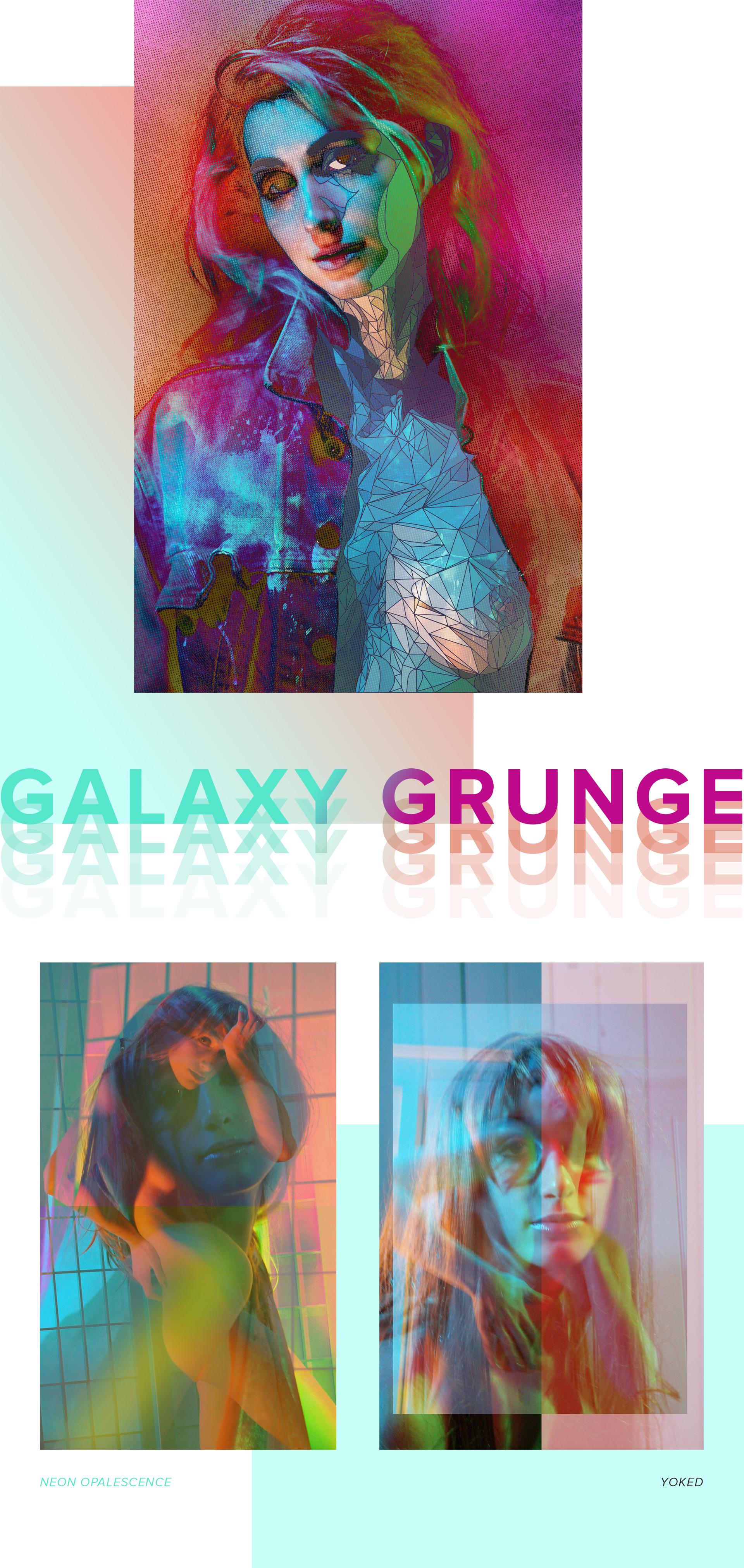 "Artwork ""Galaxy Grunge"" part of series ""The Girl Mirage"" by Geena Matuson @geenamatuson #thegirlmirage. See more @ https://thegirlmirage.com."