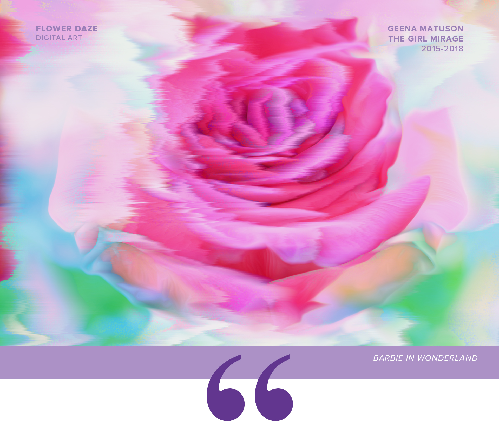 "Artwork ""Barbie in Wonderland"" part of series of art prints ""Flower Daze"" by Geena Matuson @geenamatuson #thegirlmirage. See more @ https://thegirlmirage.com."