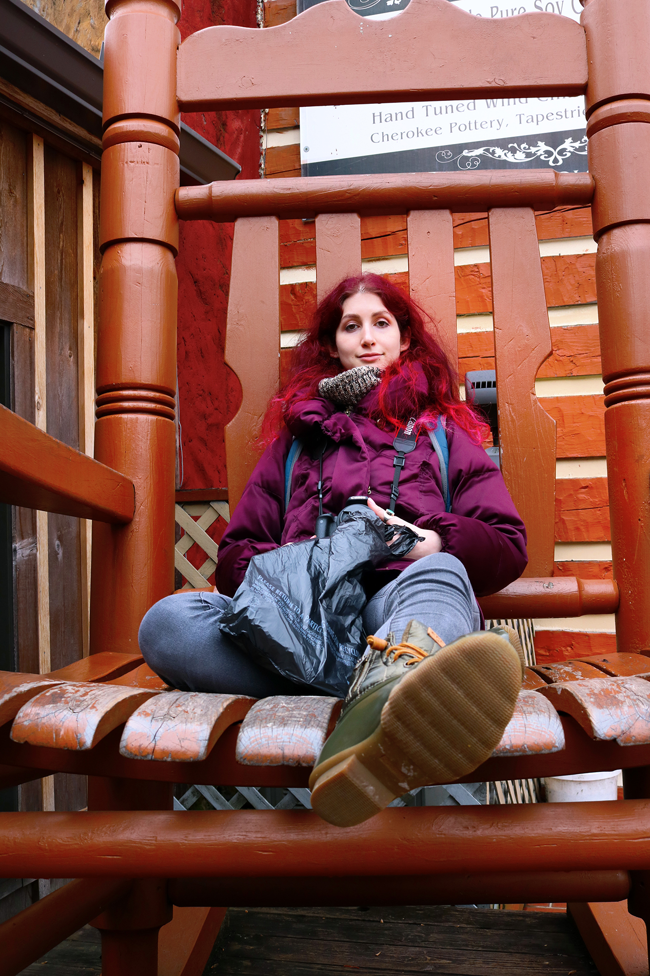 """Big chair don't care."" Geena Matuson (@geenamatuson) and in Gatlinburg, TN, March 2018."