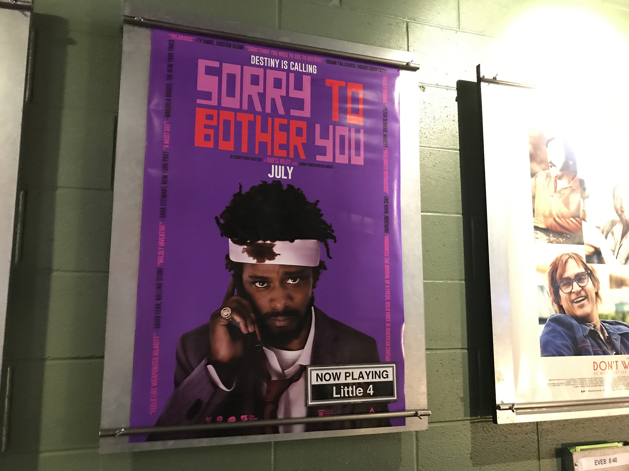 "Poster of movie ""Sorry to Bother You"" for private screening at The Little Theatre in Rochester, NY, 2018. Photo by Geena Matuson (@geenamatuson)."