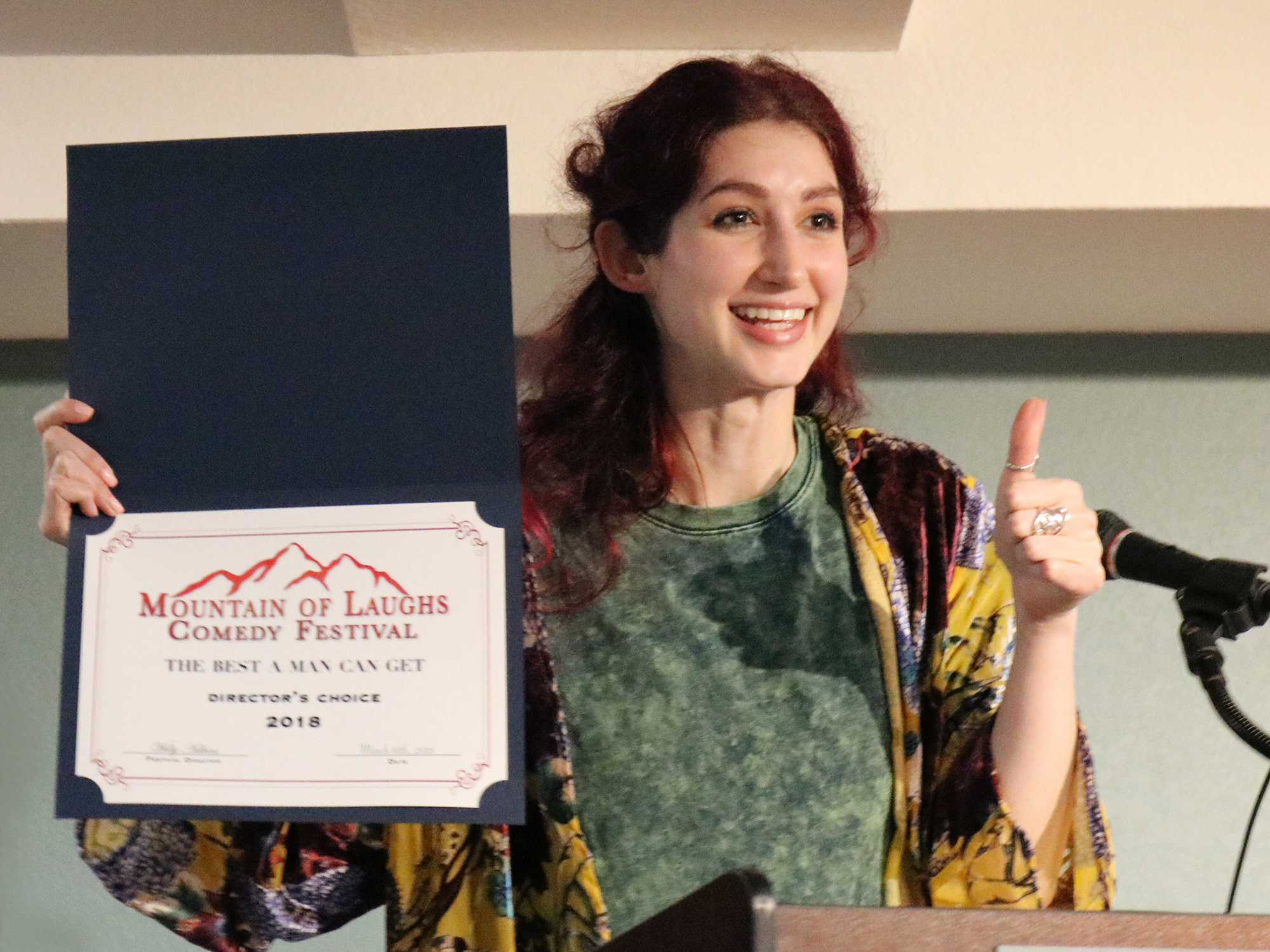 Geena Matuson (@geenamatuson) presented with Director's Choice Award at Breaking Fate Entertainment's Mountain of Laughs Comedy Film Festival in Gatlinburg, TN, 2018.