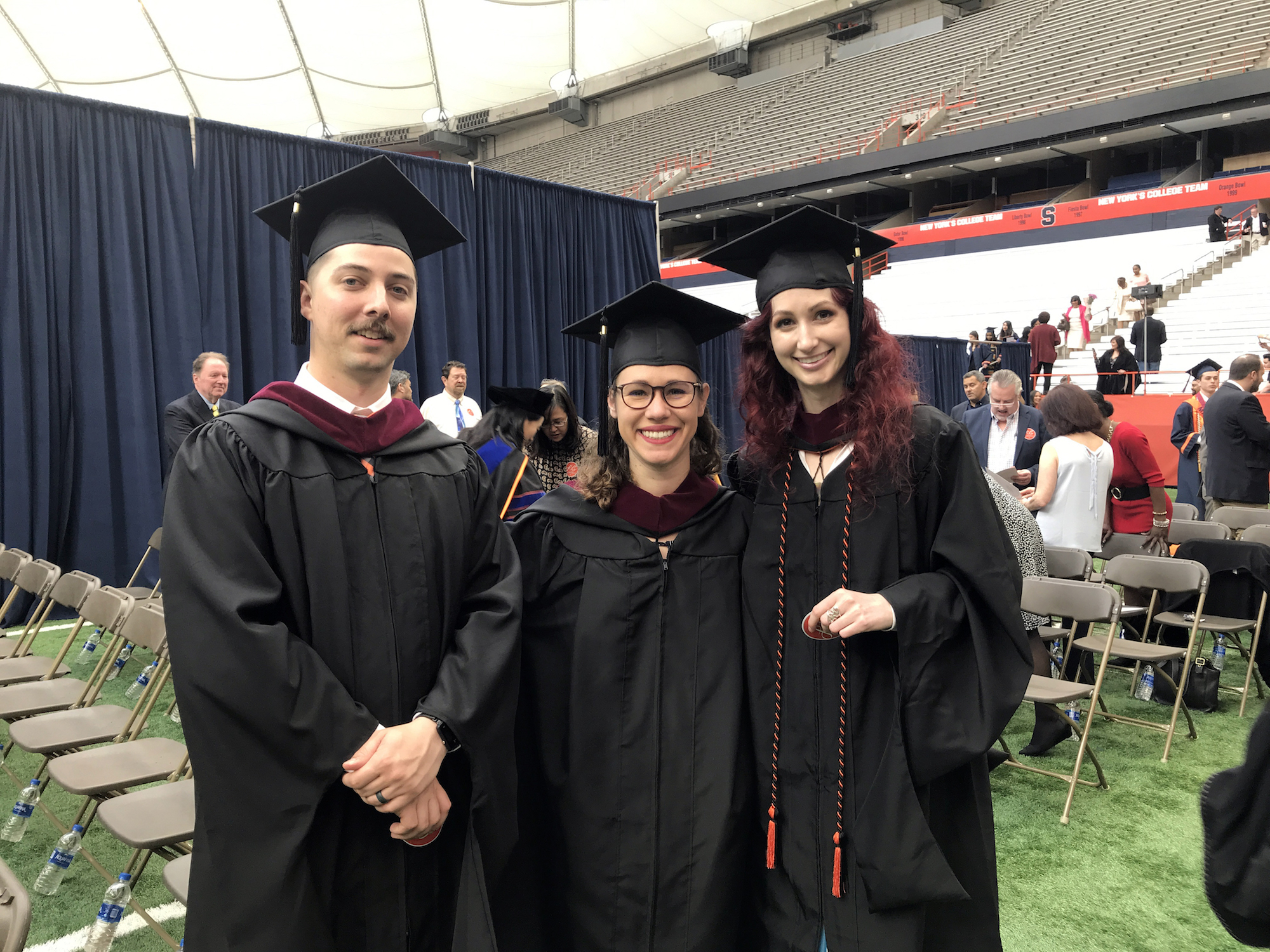 Syracuse University Newhouse Masters student Geena Matuson with recent graduates of the Military Visual Communications Program also receiving Masters, Levingston Lewis and Brianna Green, May 2019.