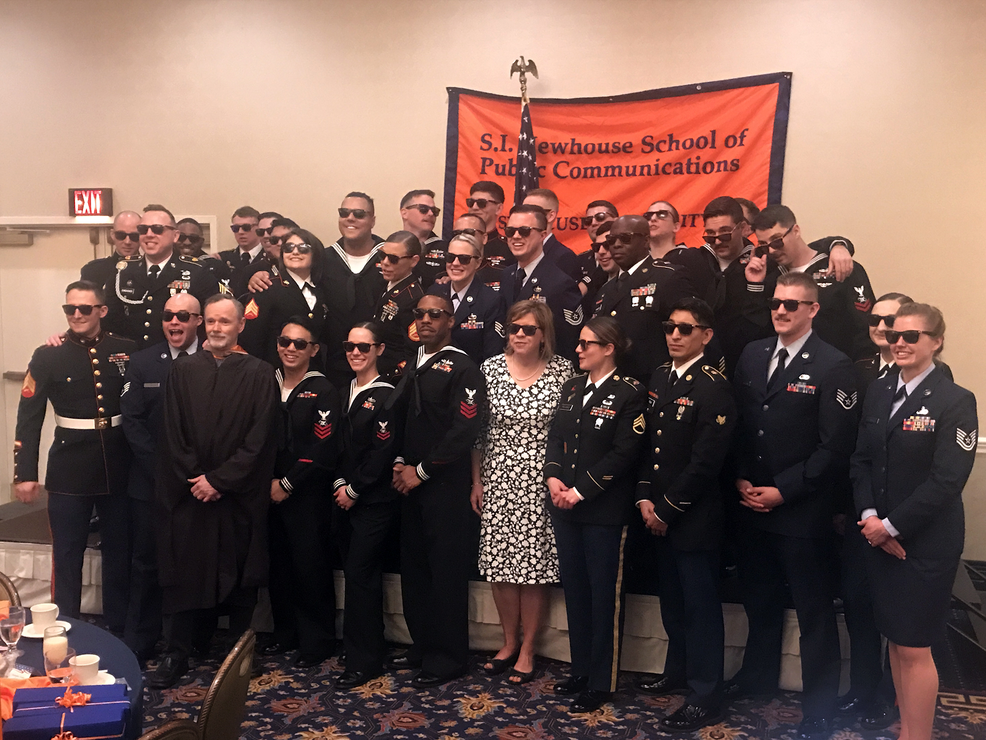 Military Visual Journalism program students at their Syracuse University S.I. Newhouse School of Public Communications ceremony, May 2019.