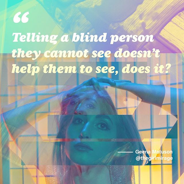 """""""Telling a blind person they can't see doesn't help them to see, does it?"""" . . . #thegirlmirage #art #face #surreal #paint #experimental #geometric #instamodel #silence #blind #instaquote #woman #pastel #artistmodel #altmodel #digitalart"""
