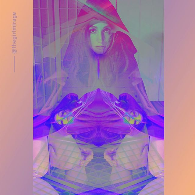 The Illusionist can be many things, or not a thing, at all. Turn the lights off - are we really here, or is it an #illusion? . . . #thegirlmirage #art @adobe #digitalart #glitch #instaart #instagood #purple #art #experimental #surreal #artistsoninstagram #society6 #reflection
