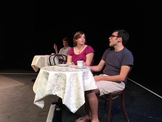 Tech rehearsal! Left to right: Kelly Litt, Jackie Marcoux, and Ben Bagley.