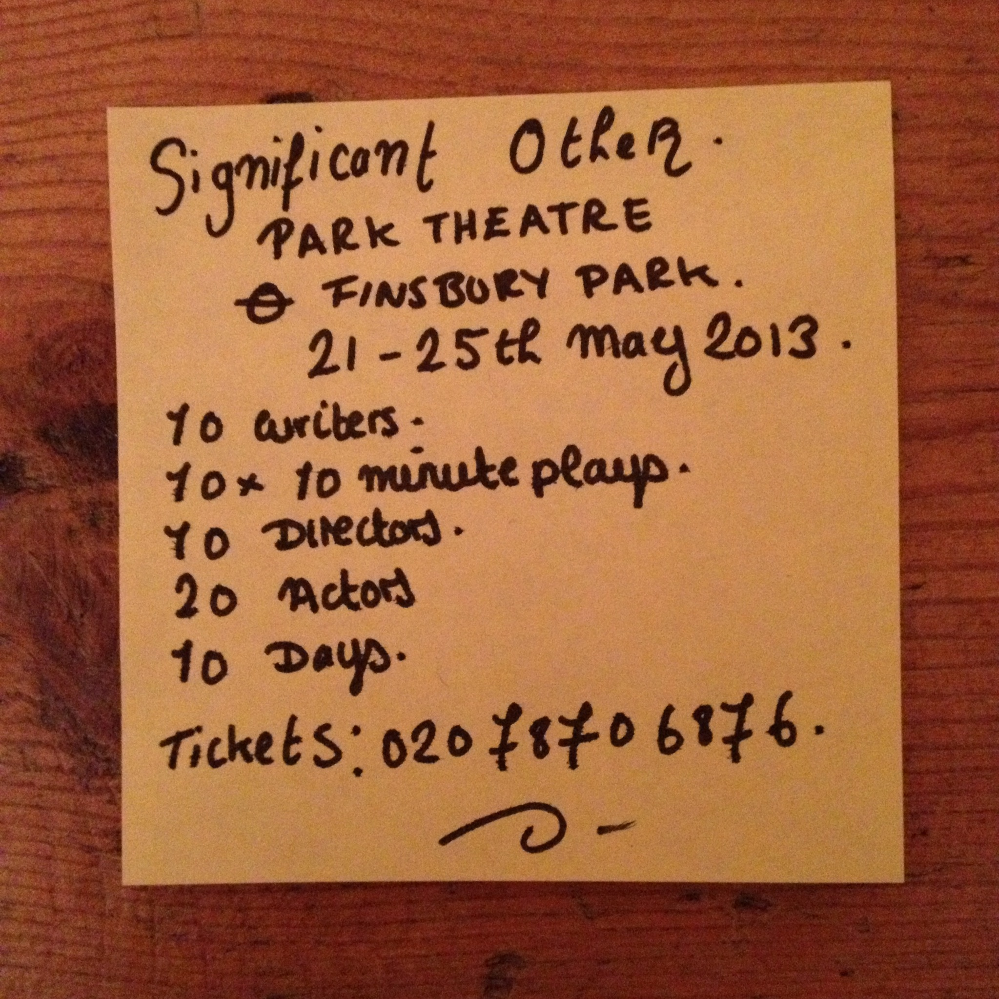Join us for 100 minutes of creative playtime   21-25th May 2013 Morris Space, Park Theatre - Finsbury Park