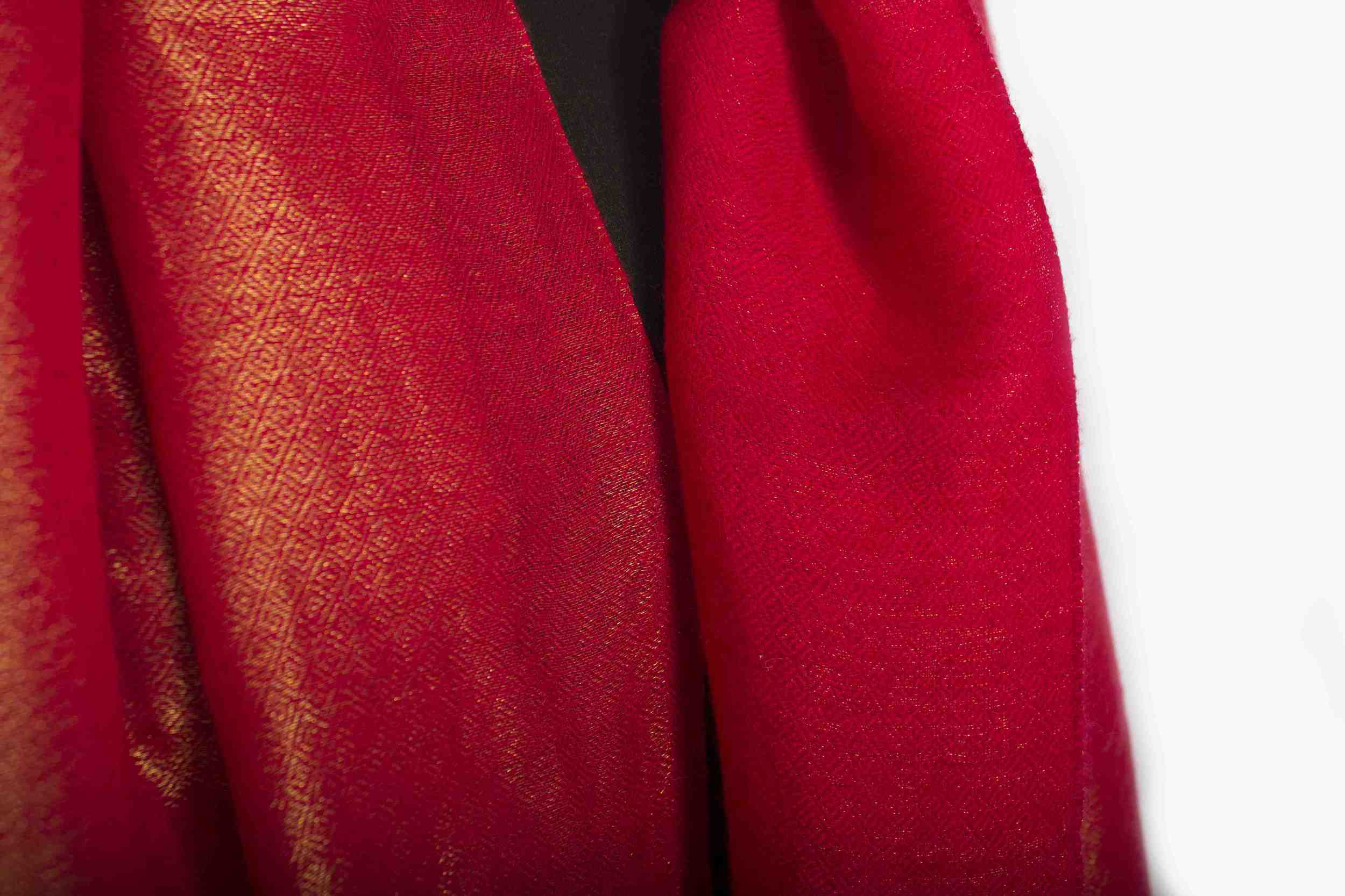 Red Hand Spun Pashmina with Gold Lurex